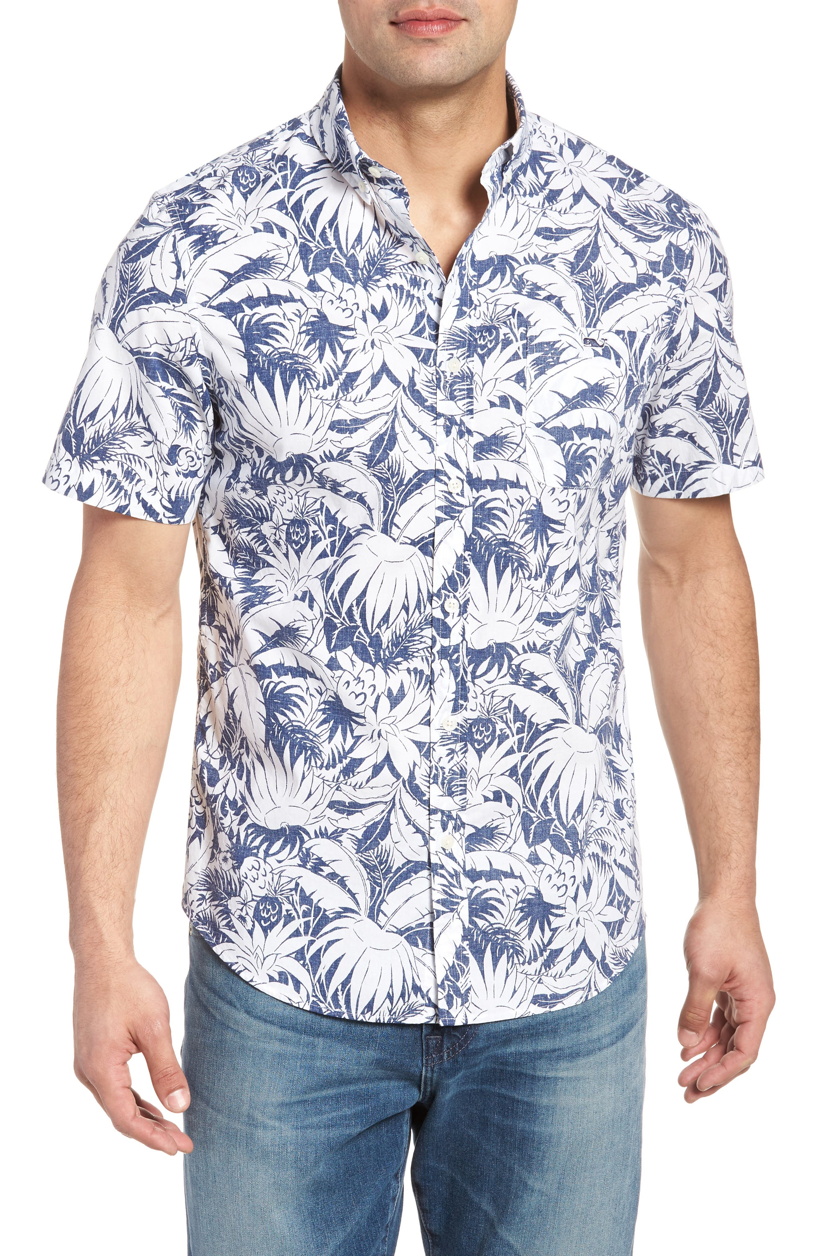 Slim Fit Print Short Sleeve Sport Shirt,                             Main thumbnail 1, color,                             Deep Bay