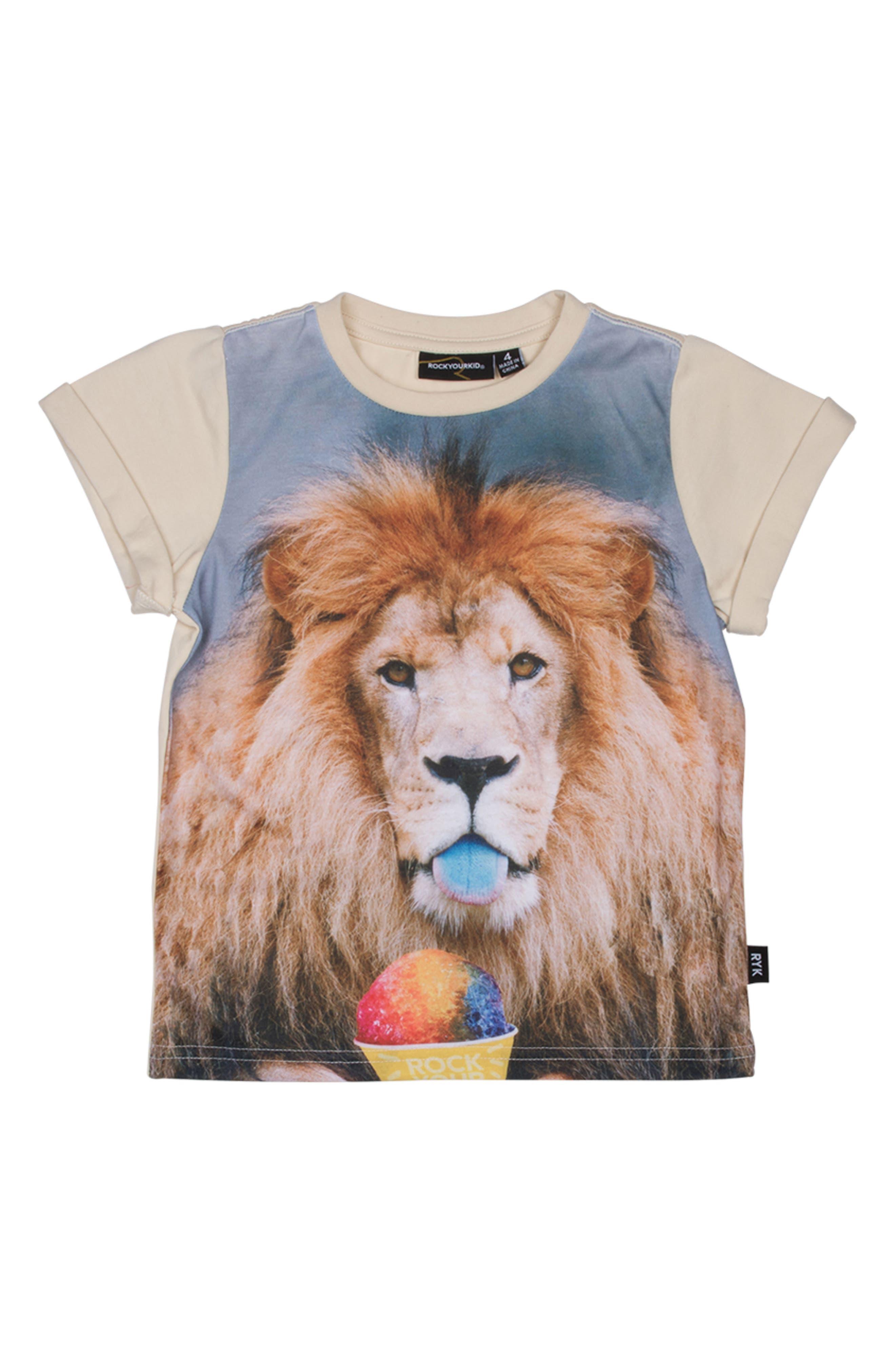 Summertime Lion Graphic T-Shirt,                         Main,                         color, Oatmeal
