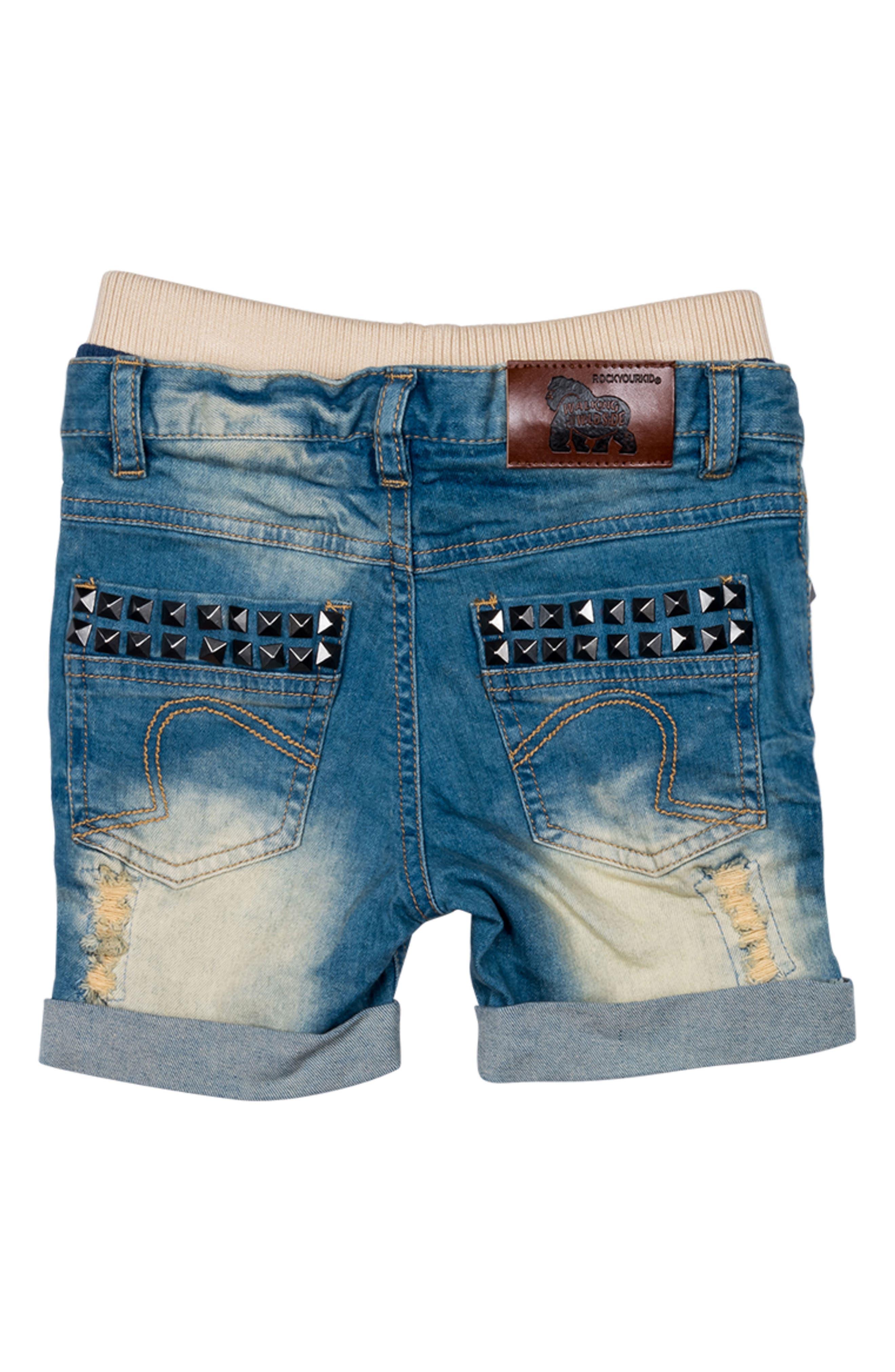 Heavy Metal Denim Shorts,                             Alternate thumbnail 2, color,                             Blue Denim