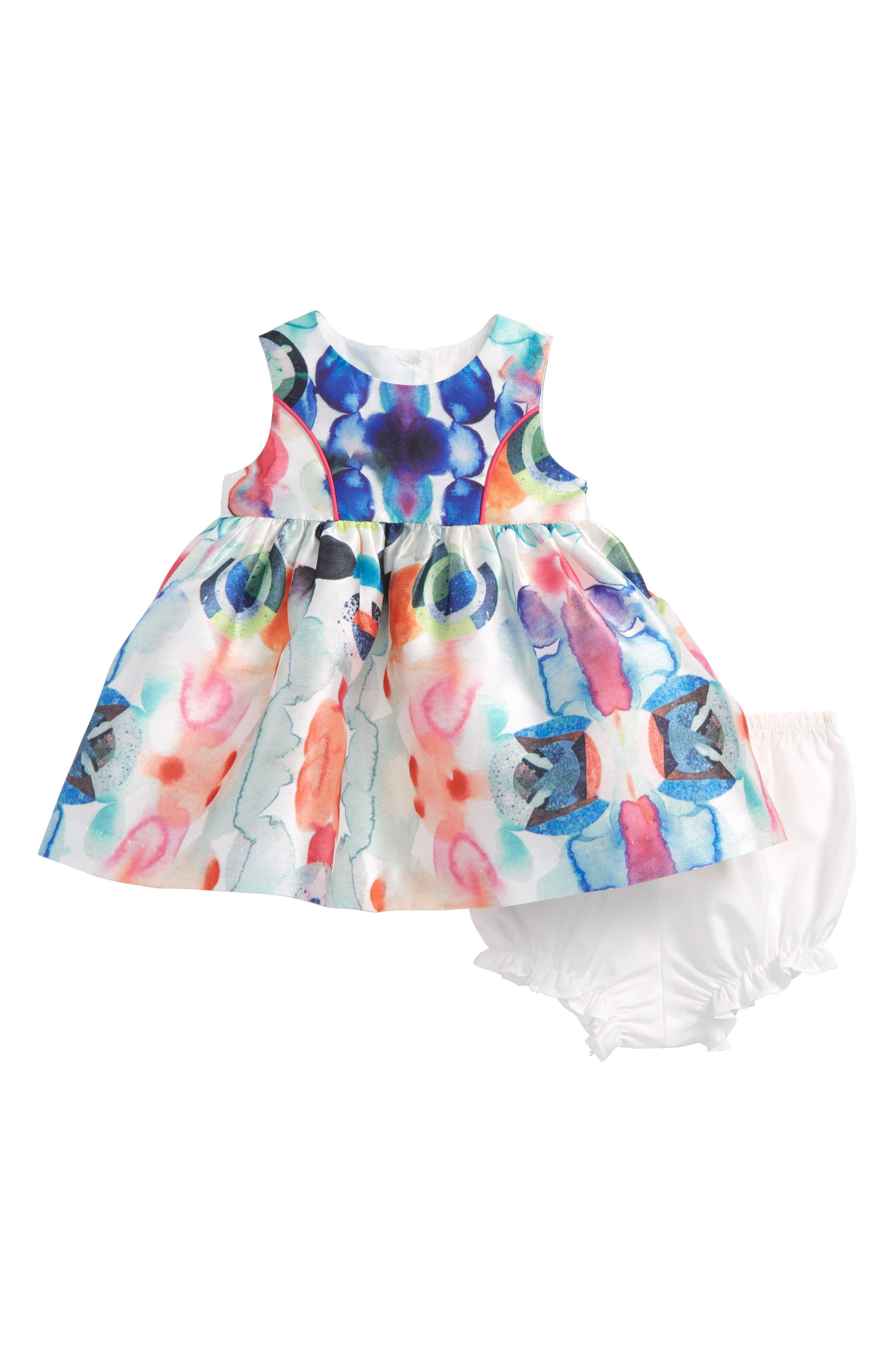 Watercolor Party Dress,                             Main thumbnail 1, color,                             Ivory Multi