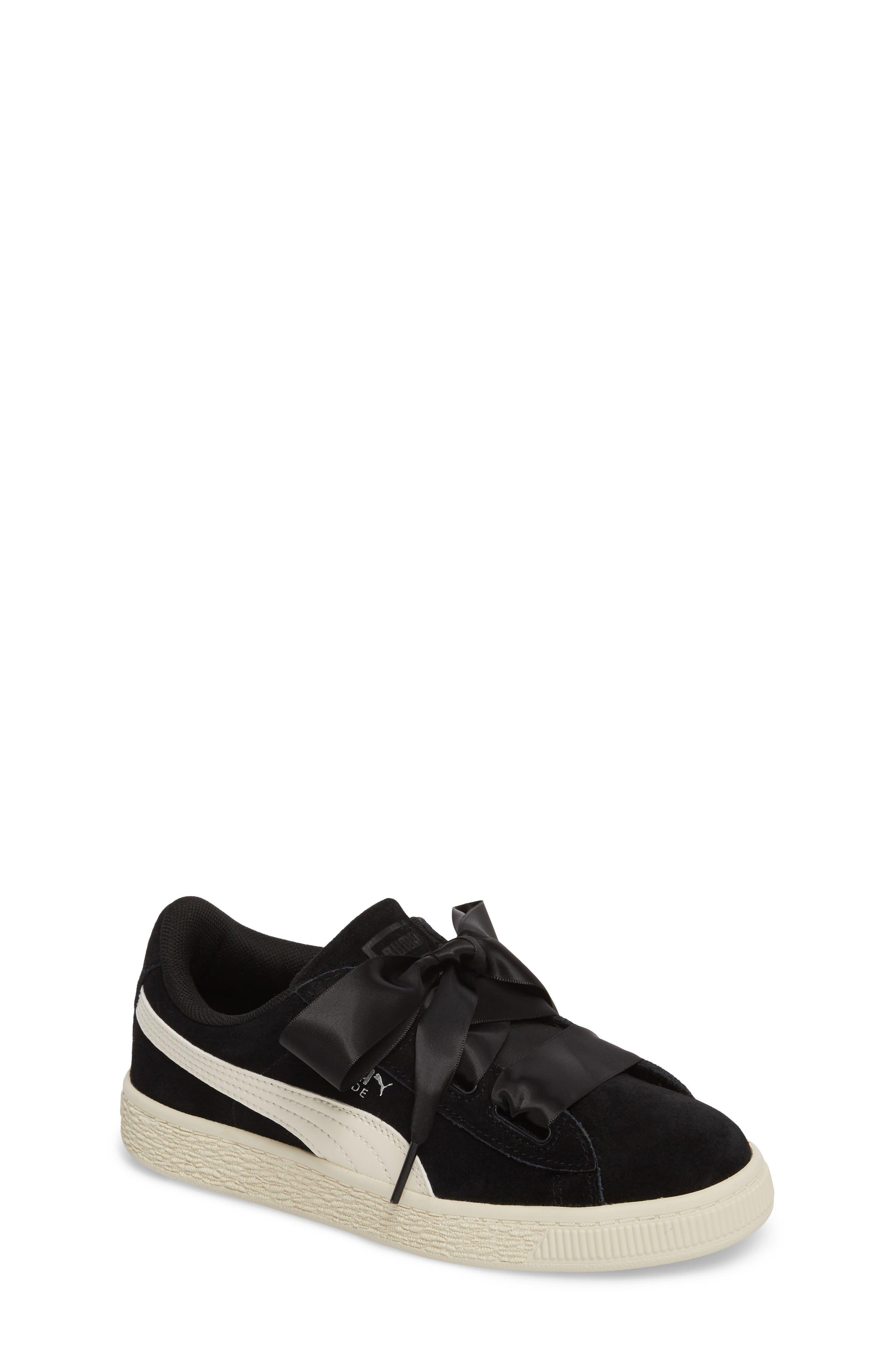 Suede Heart Sneaker,                             Main thumbnail 1, color,                             Puma Black/ Whisper White