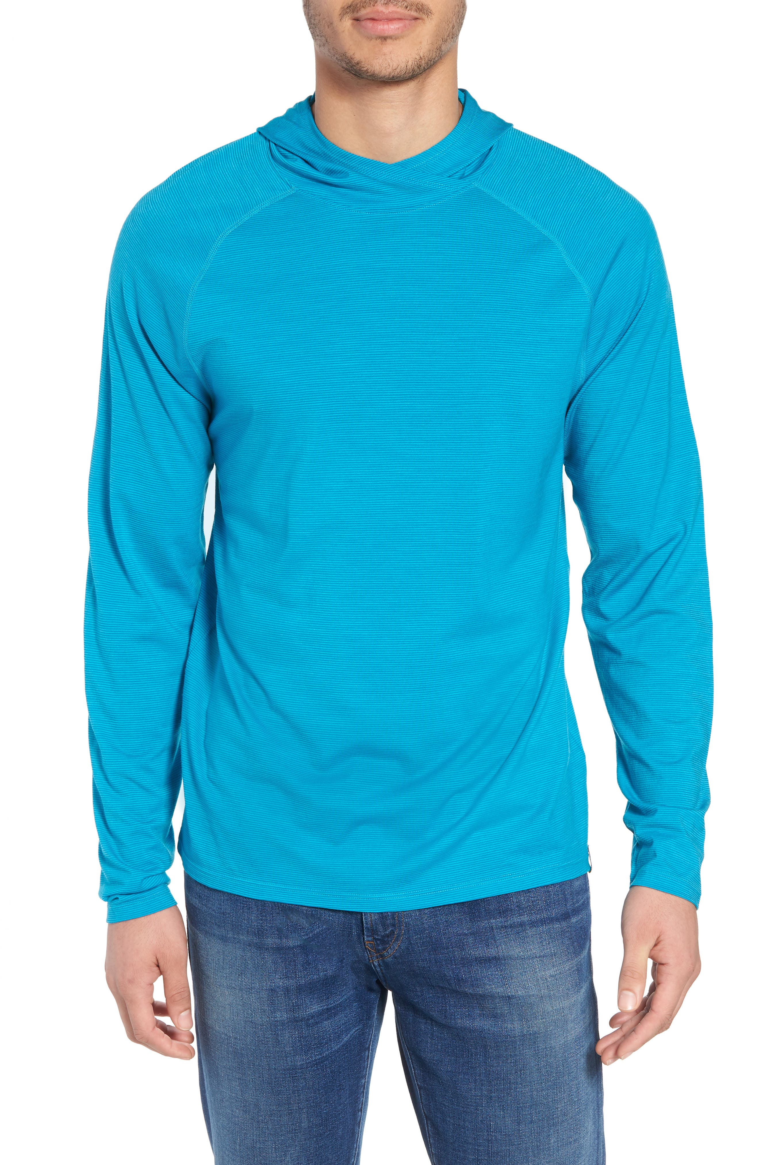 Merino 150 Wool Blend Hoodie,                             Main thumbnail 1, color,                             Sea Blue