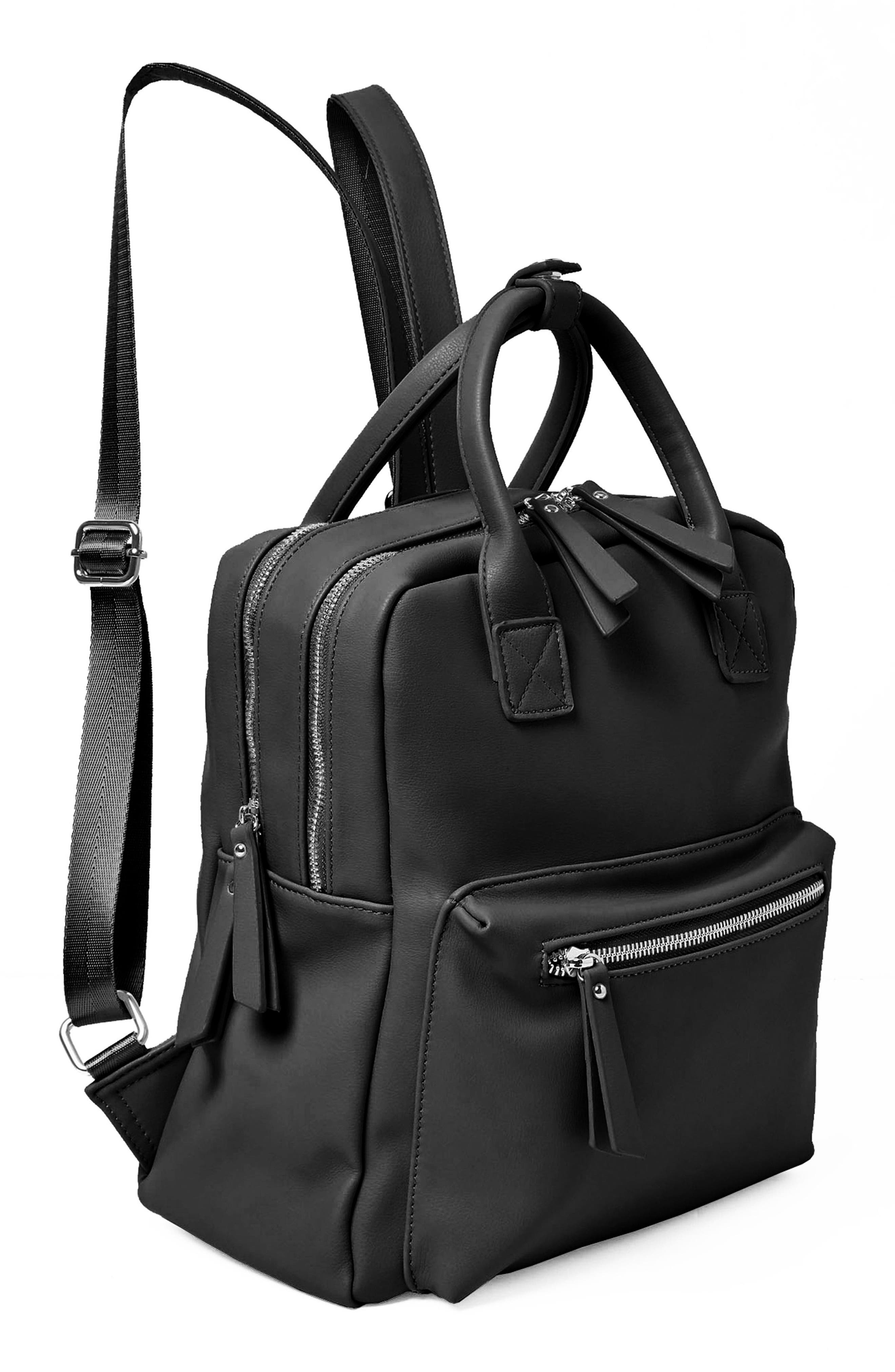 Over Exposure Vegan Leather Backpack,                             Alternate thumbnail 4, color,                             Black