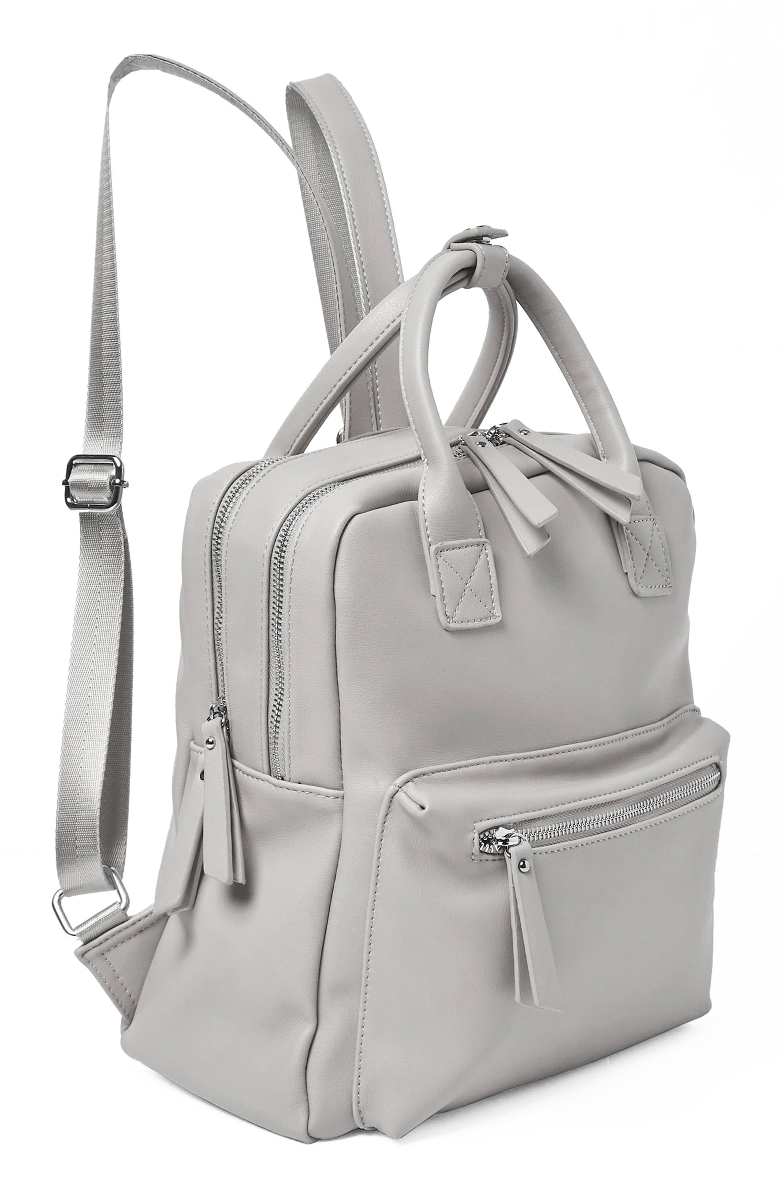 Over Exposure Vegan Leather Backpack,                             Alternate thumbnail 4, color,                             Grey