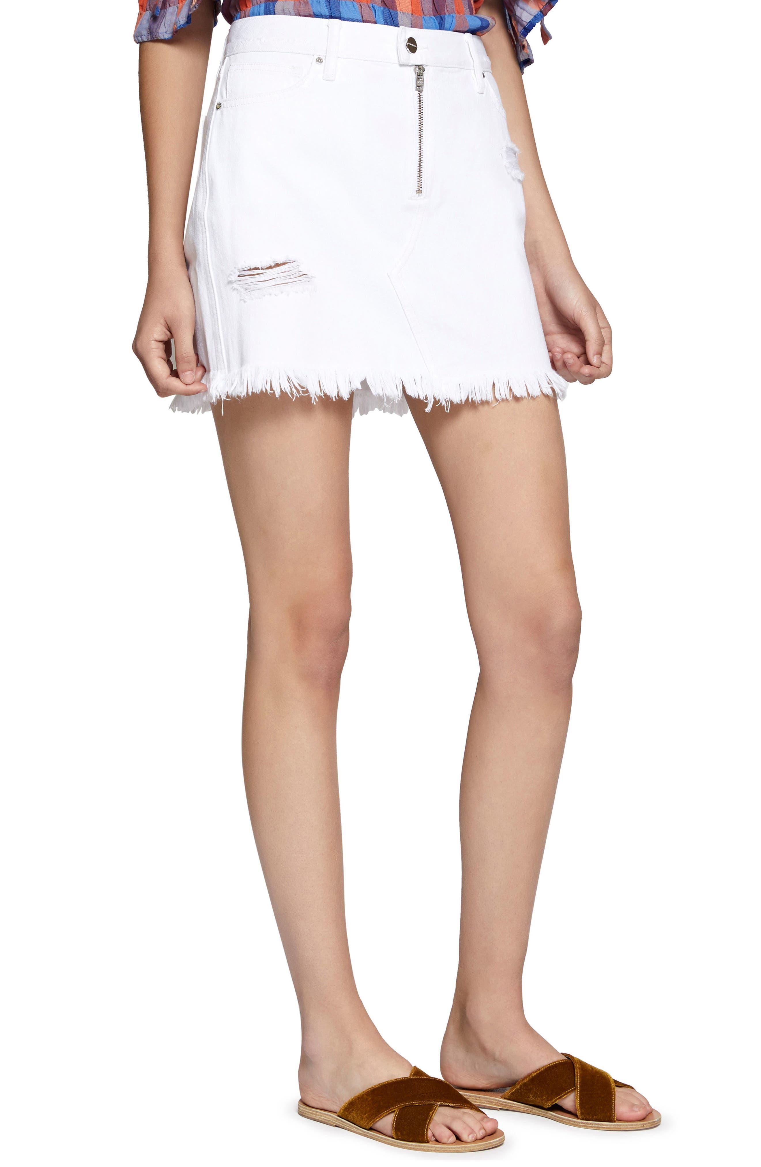 Ripped Denim Skirt,                         Main,                         color, White