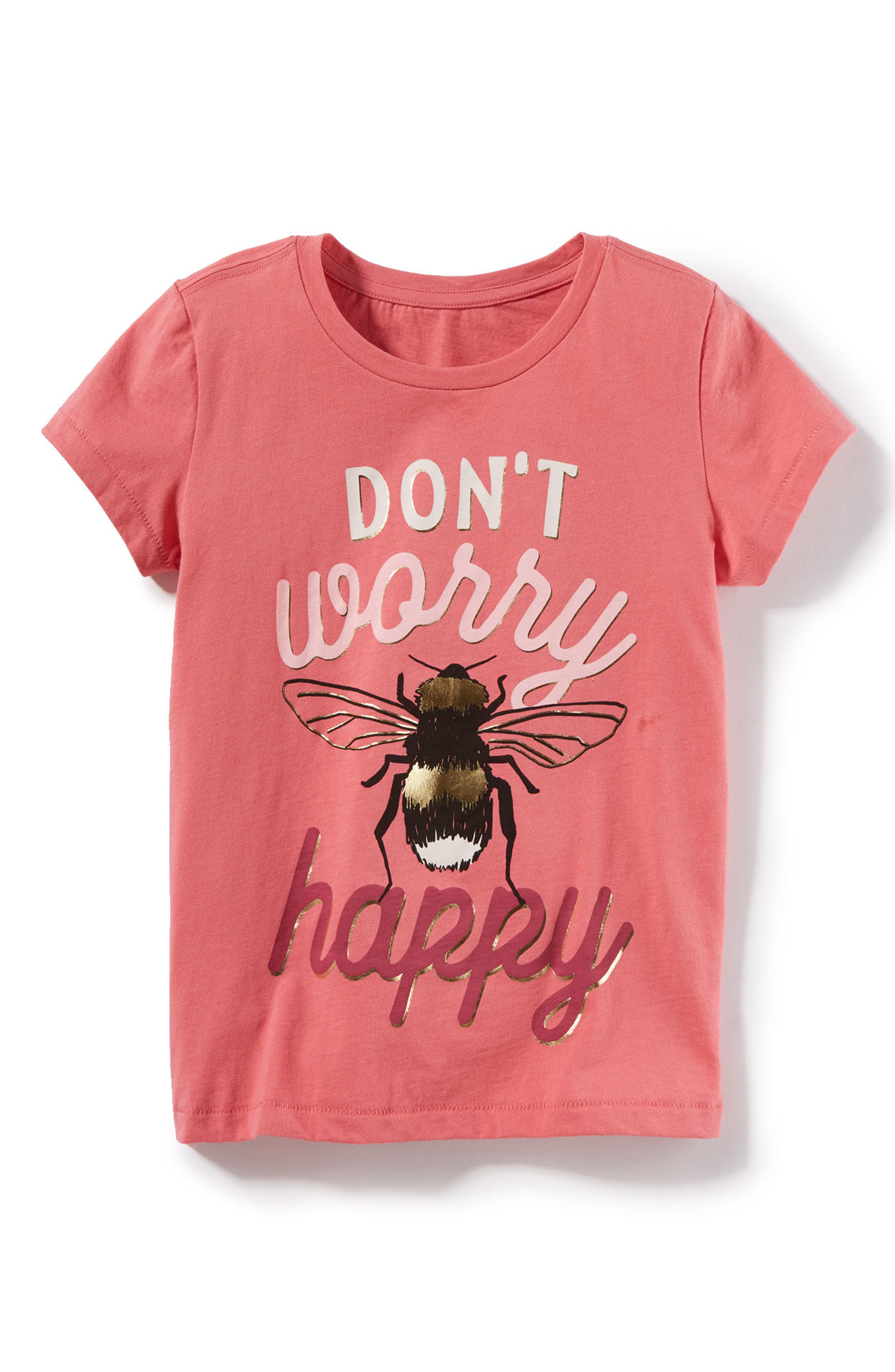 Don't Worry Graphic Tee,                             Main thumbnail 1, color,                             Coral