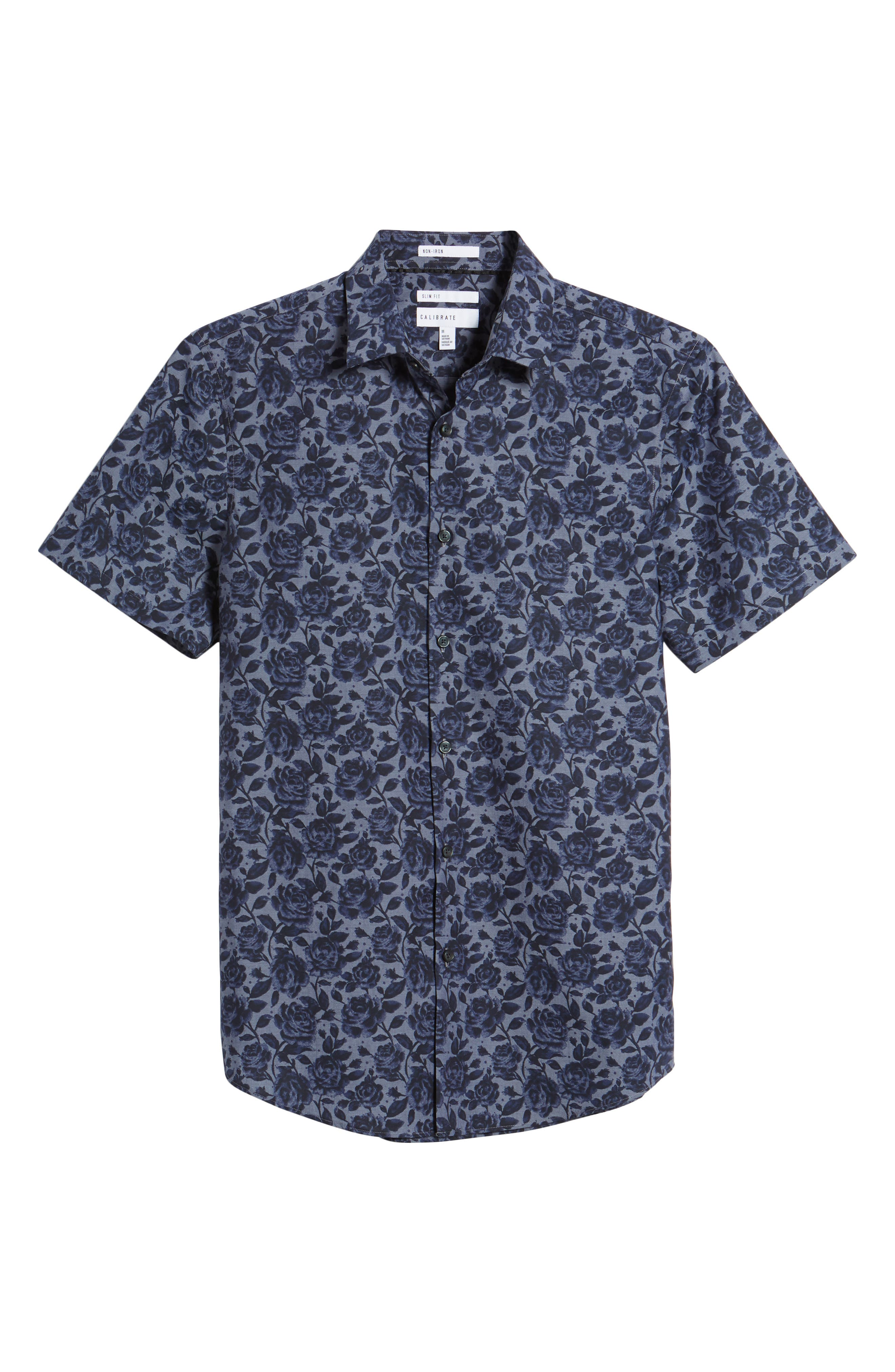 Floral Print Sport Shirt,                             Alternate thumbnail 6, color,                             Navy Blue Chambray Floral