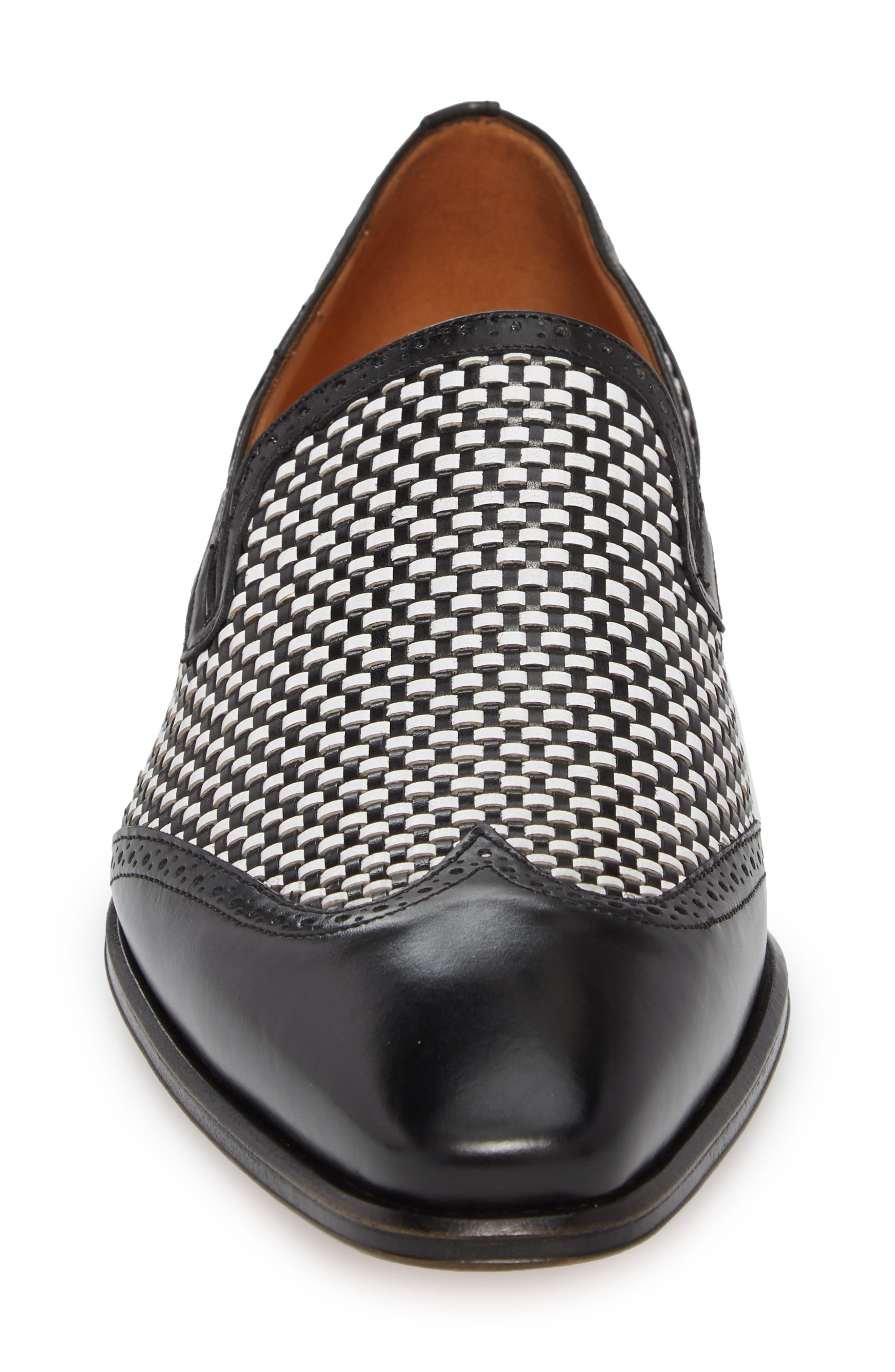 Nepos Woven Wingtip Loafer,                             Alternate thumbnail 4, color,                             Black/ White Leather
