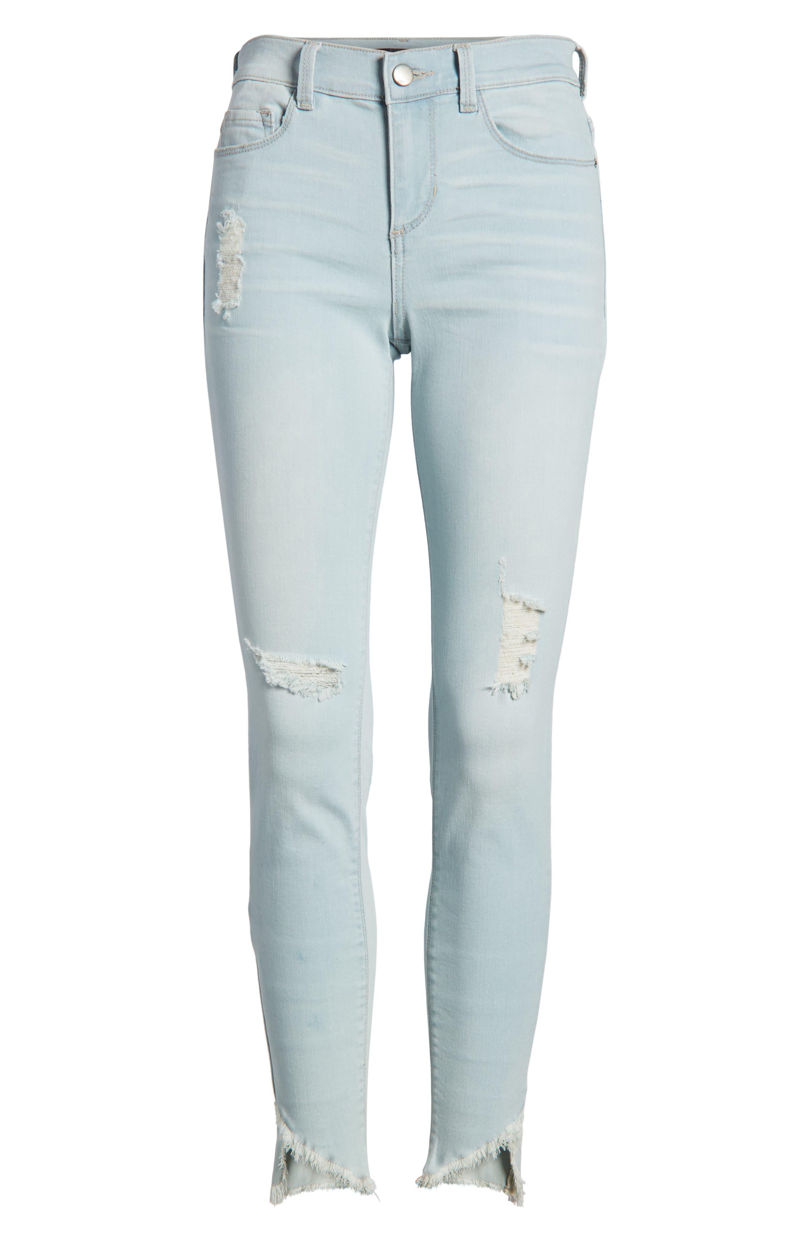 Distressed Asymmetrical Hem Skinny Jeans,                             Alternate thumbnail 7, color,                             Light Wash