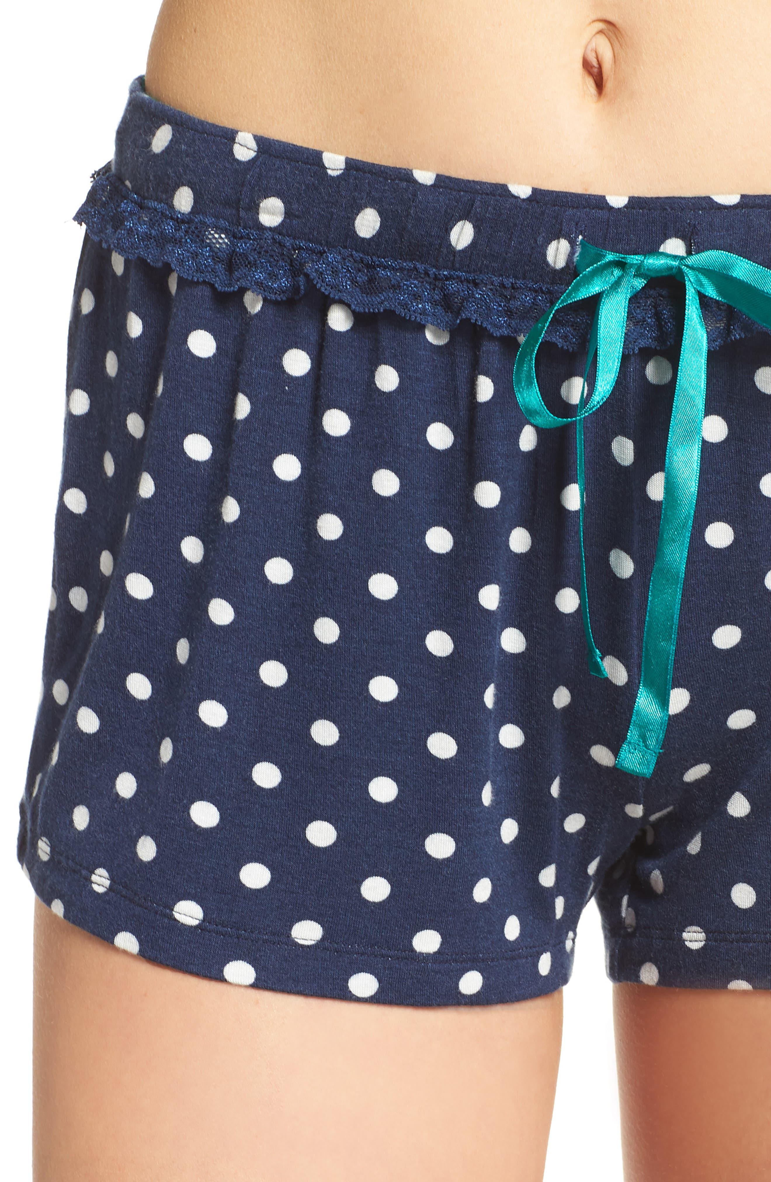 Pajama Shorts,                             Alternate thumbnail 4, color,                             Navy