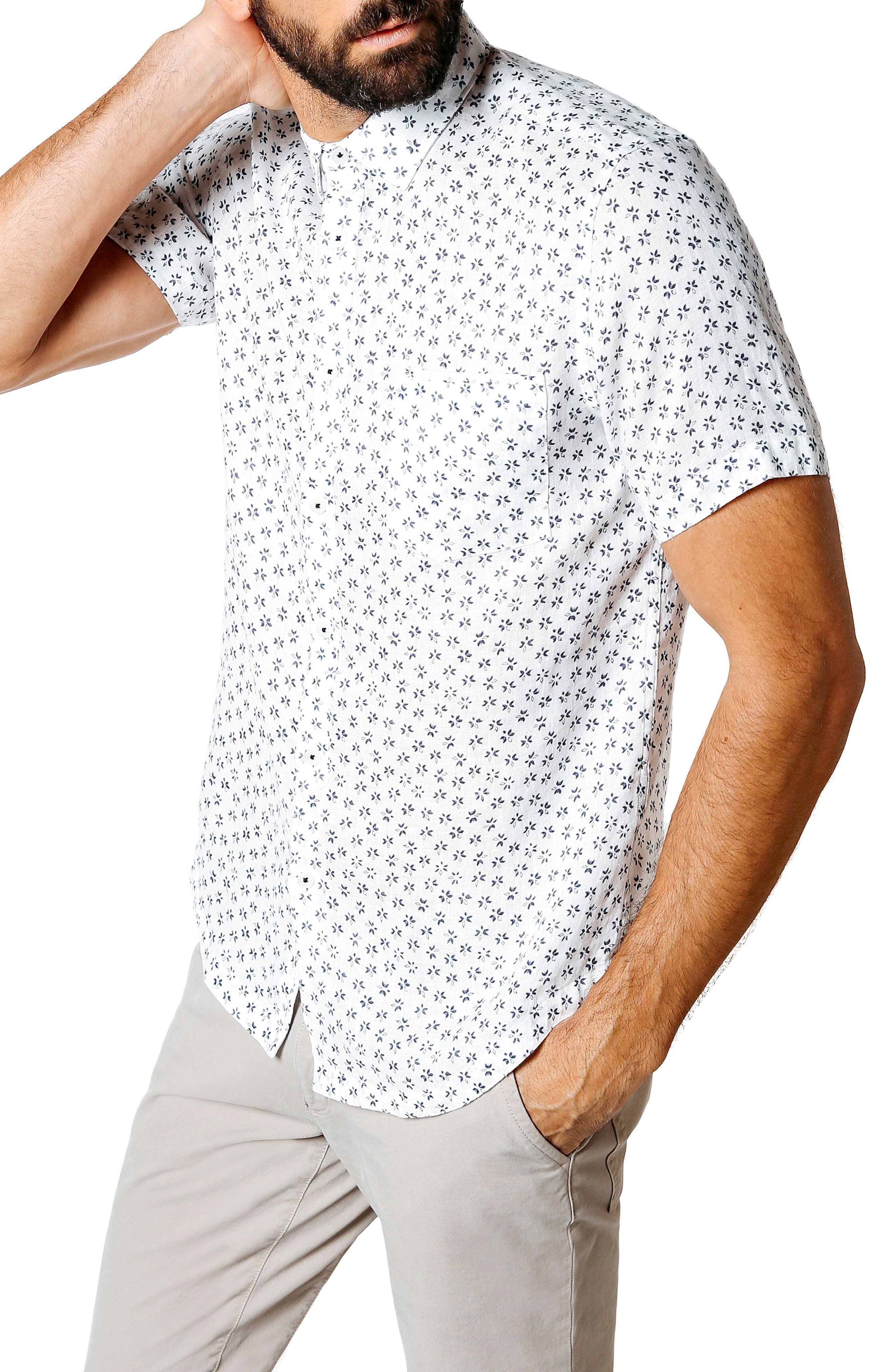 Trim Fit Tea Leaf Print Shirt,                             Alternate thumbnail 3, color,                             White