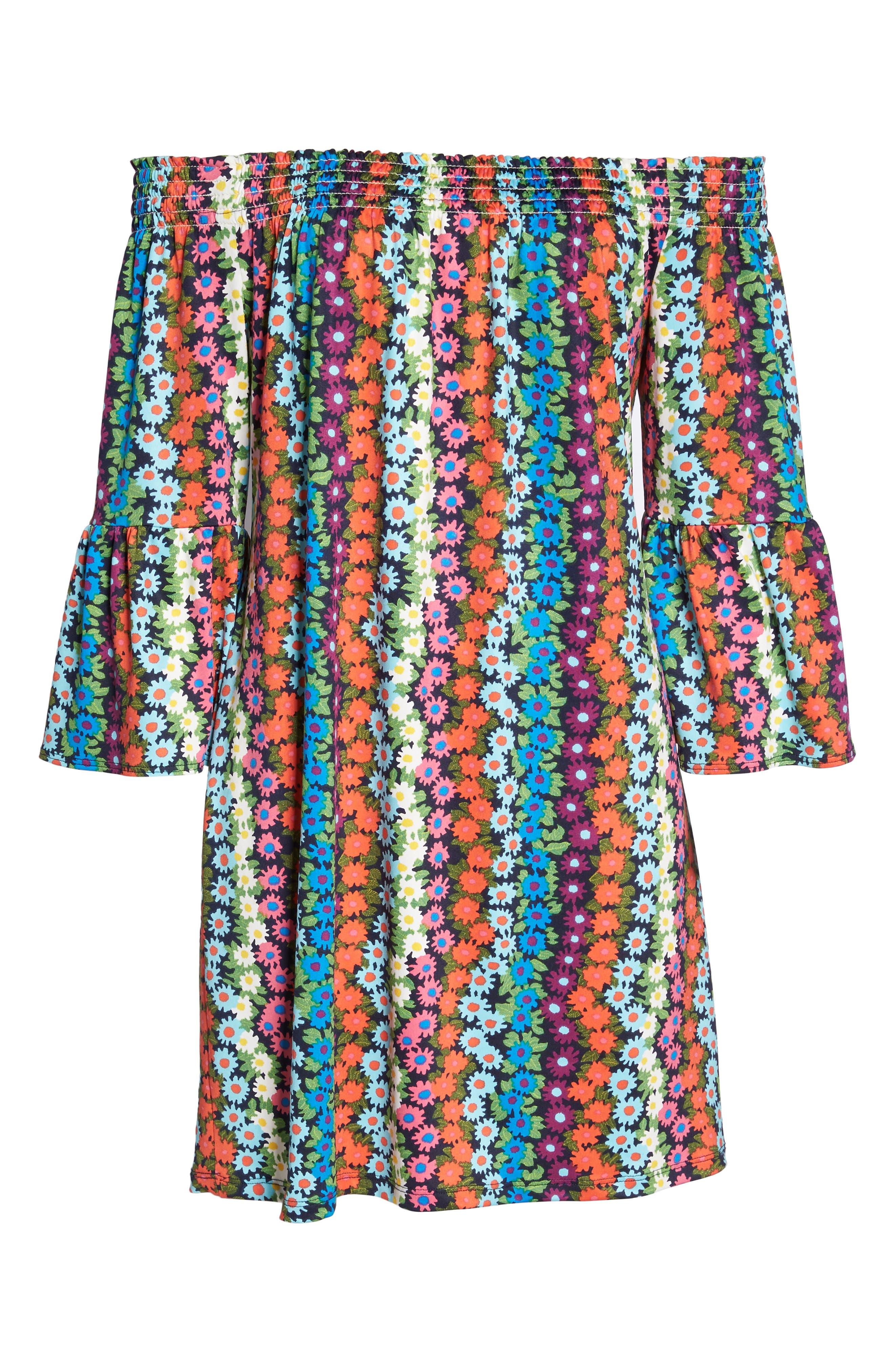 Trina Turk Off the Shoulder Bell Sleeve Dress,                             Alternate thumbnail 6, color,                             Multi