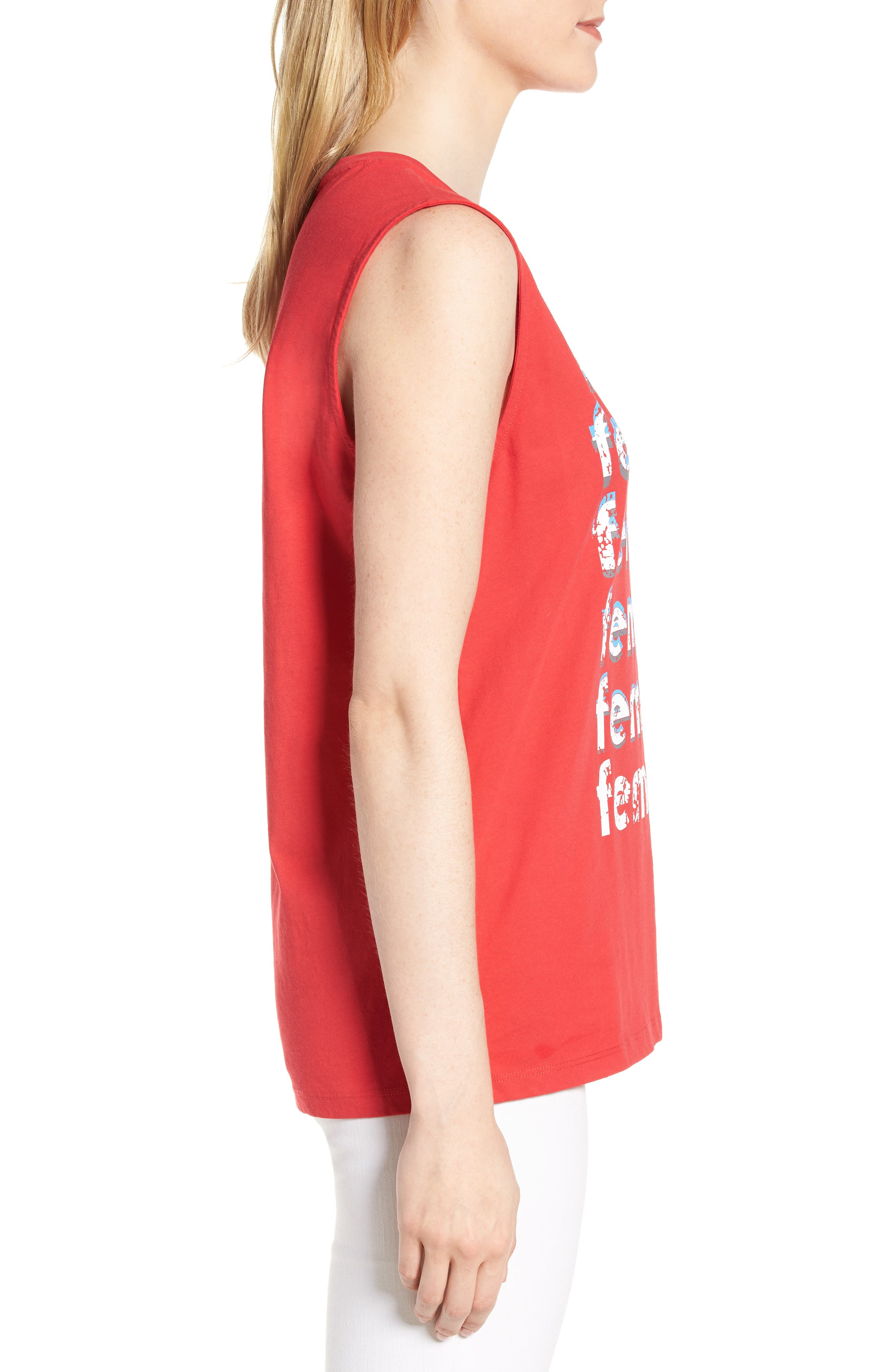 Feminism Muscle Tee,                             Alternate thumbnail 3, color,                             Bright Red/ Multi
