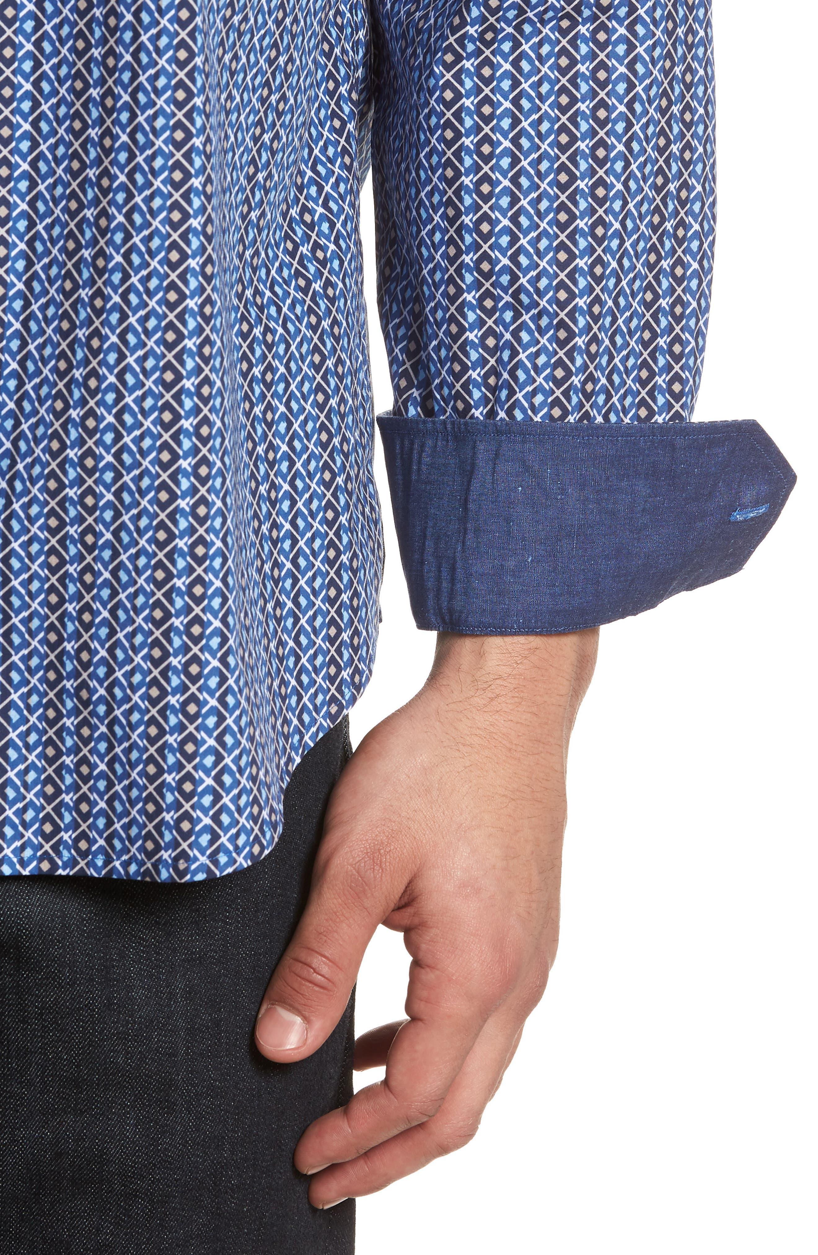 Classic Fit Print Sport Shirt,                             Alternate thumbnail 4, color,                             Classic Blue