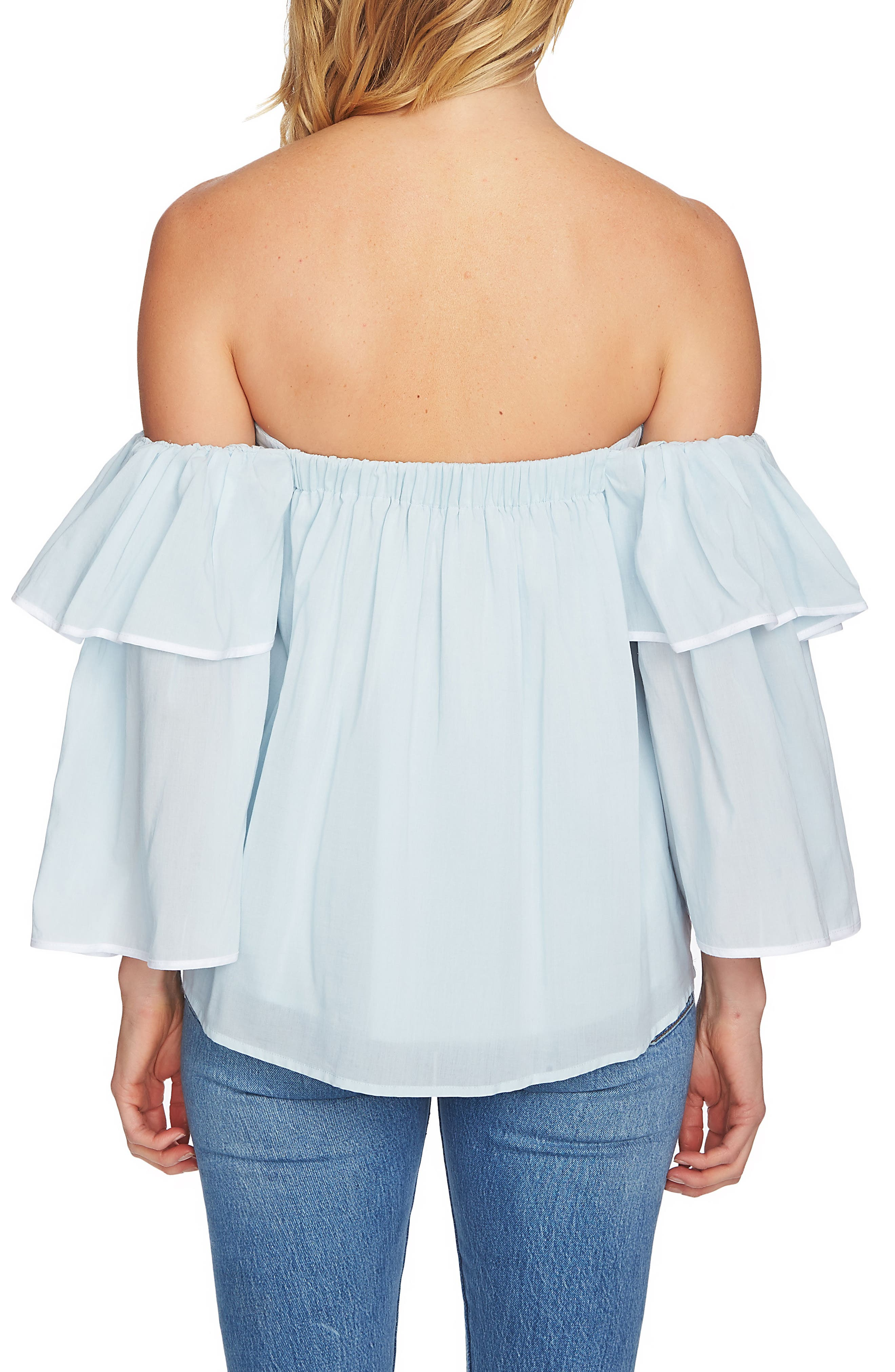 Tiered Sleeve Off the Shoulder Top,                             Alternate thumbnail 2, color,                             Harbor Light