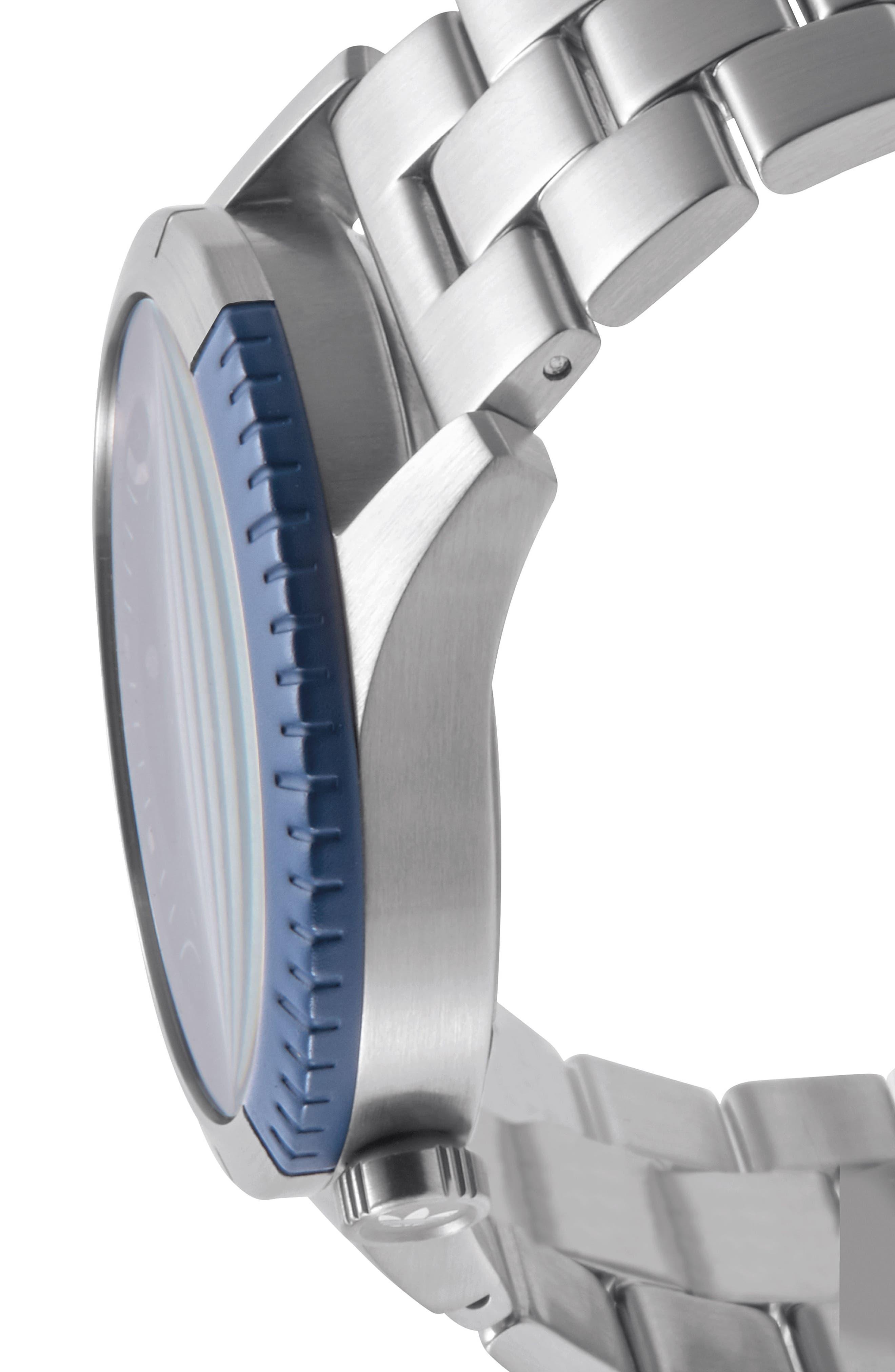 Cypher Bracelet Watch, 42mm,                             Alternate thumbnail 3, color,                             Silver/ Black/ Blue