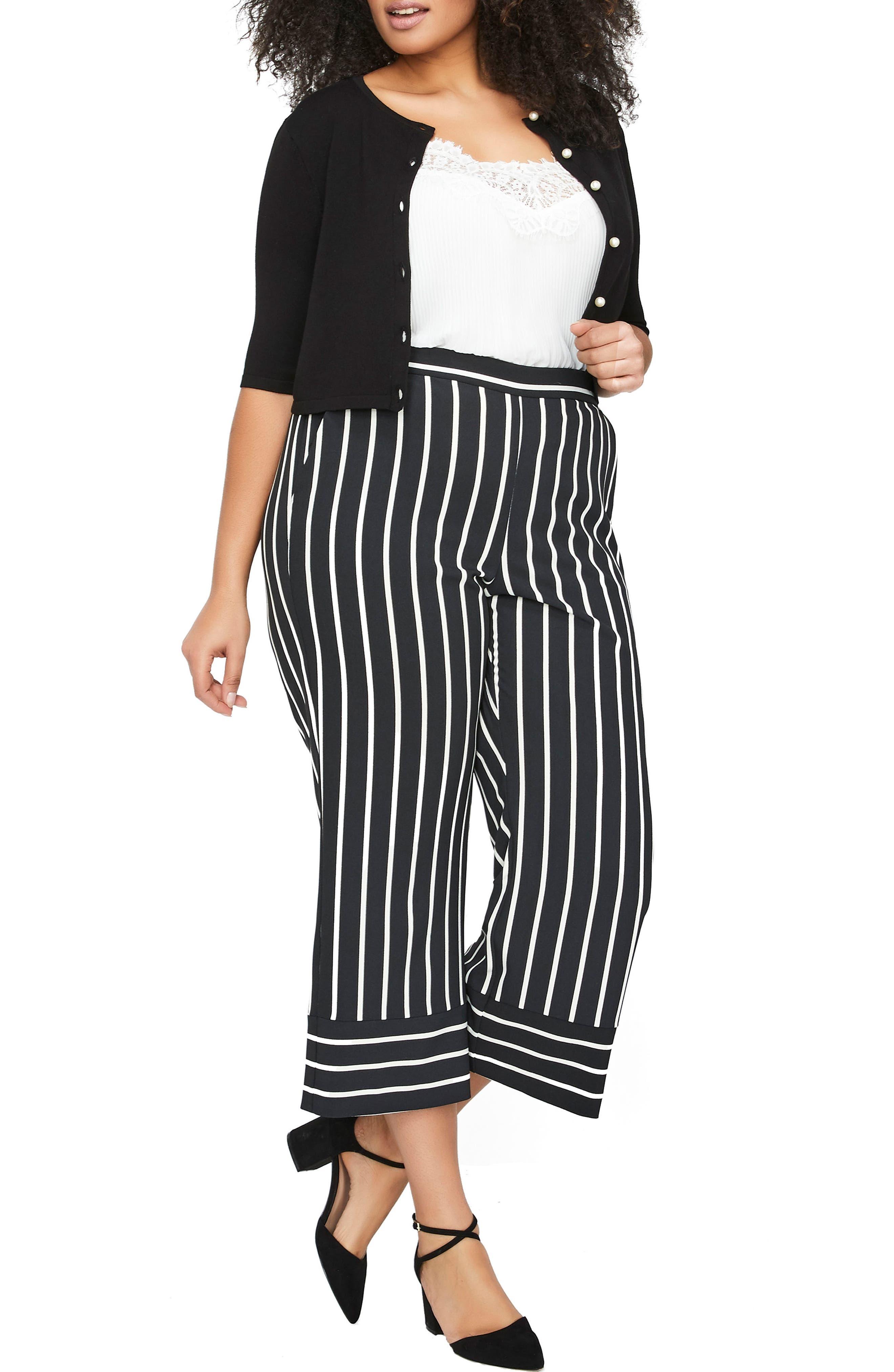 Stripe Wide Leg Crop Pants,                             Alternate thumbnail 2, color,                             Blanc De Blanc / Black Stripe