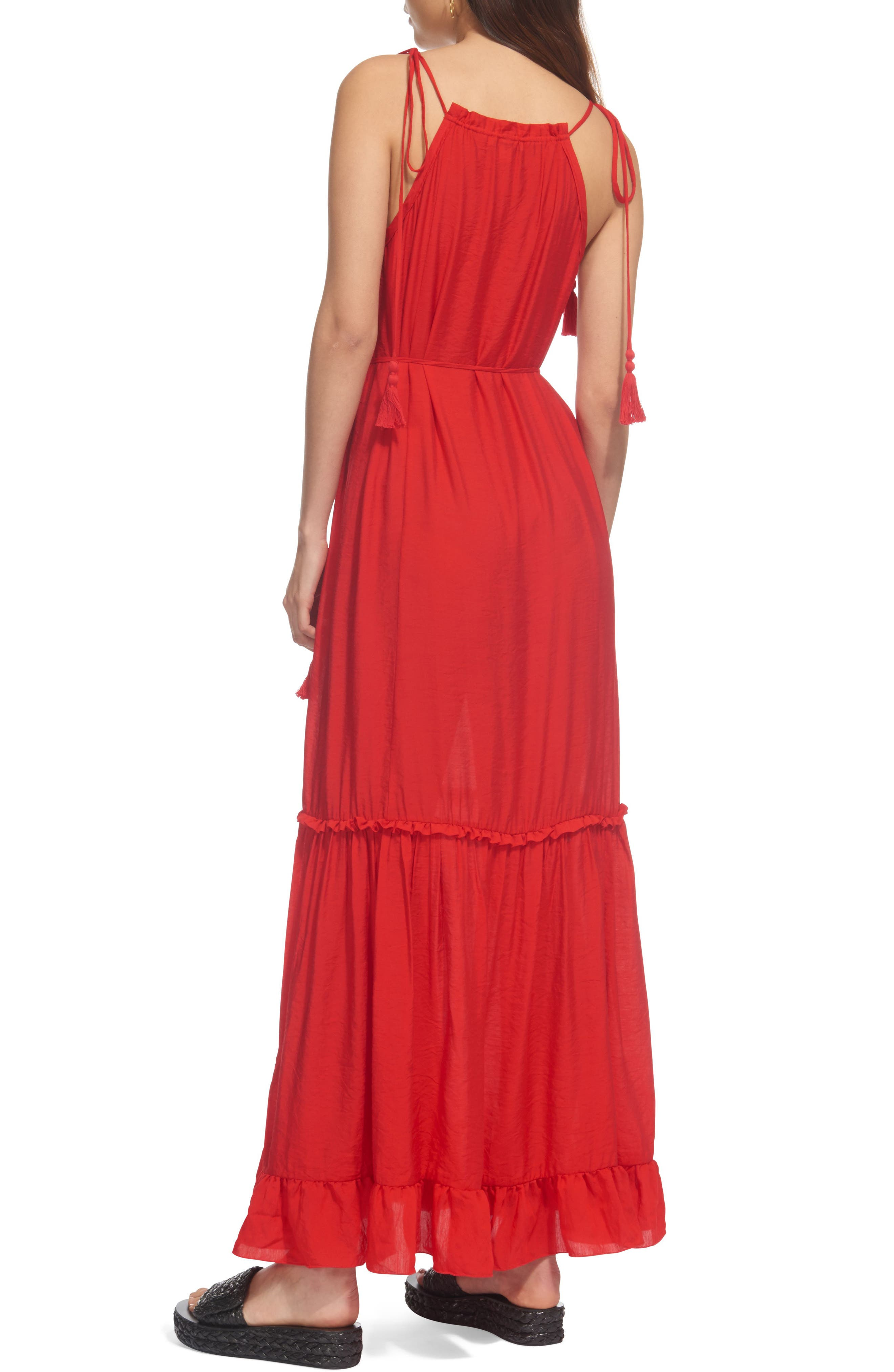 Tassel Tie Maxi Dress,                             Alternate thumbnail 2, color,                             Red