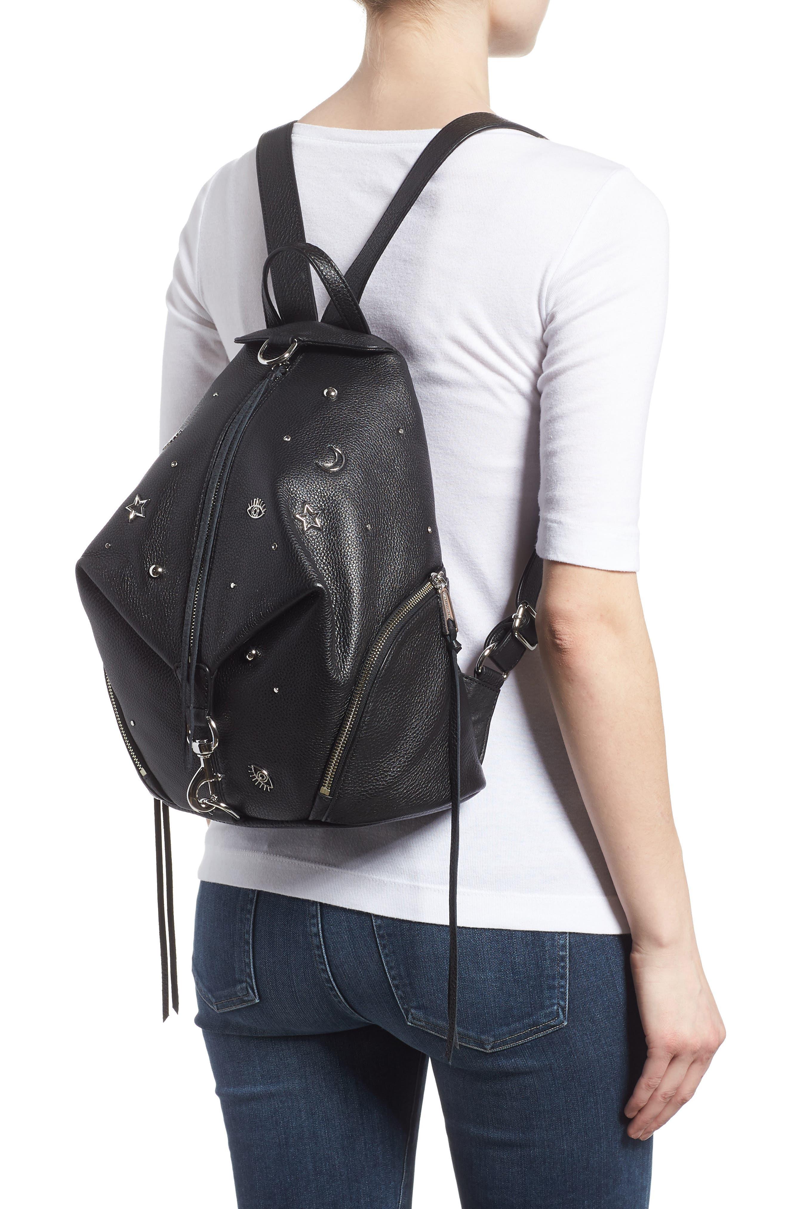 Julian Embellished Leather Backpack,                             Alternate thumbnail 2, color,                             Black