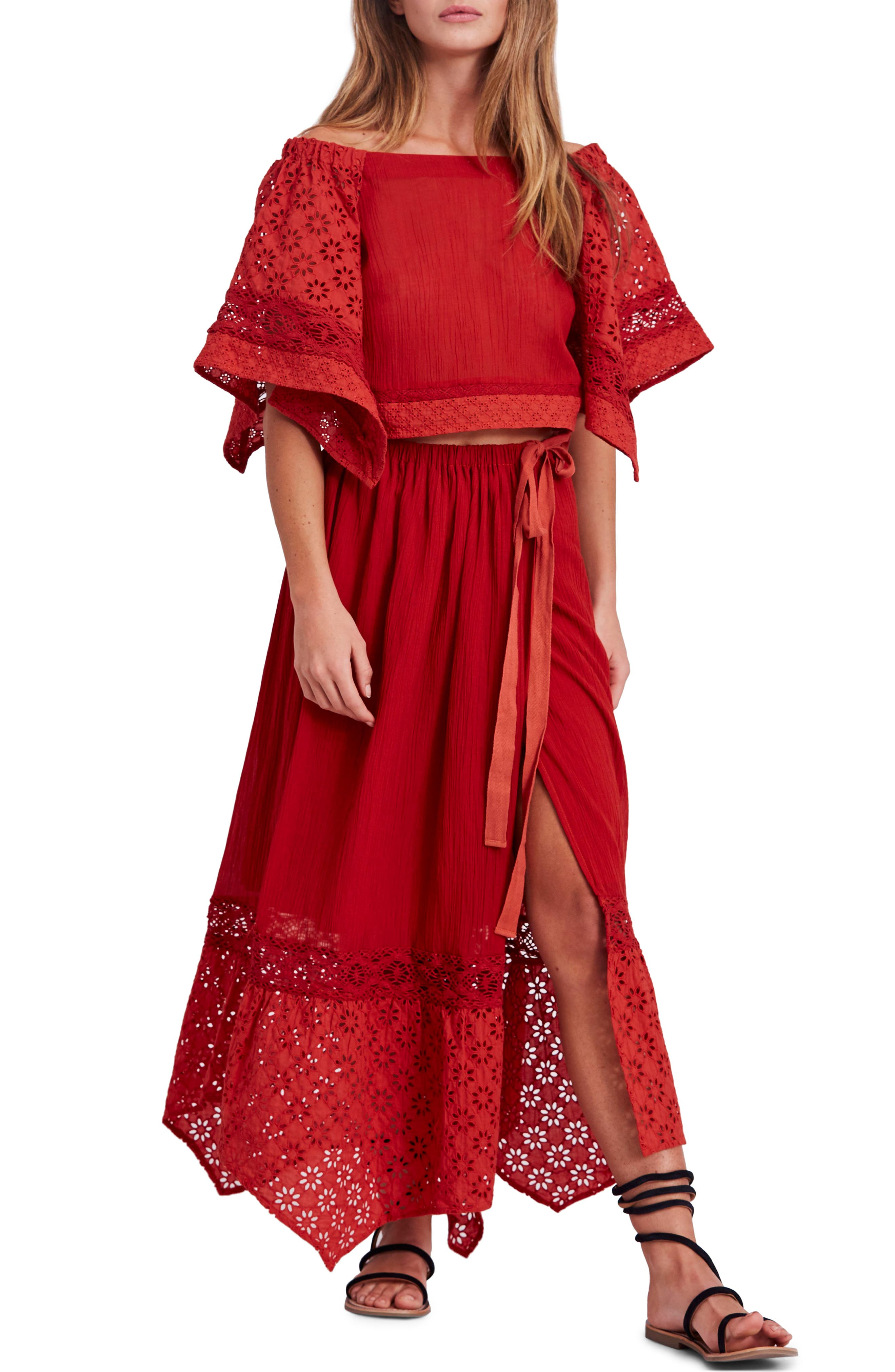 Free People Darling Top & Skirt,                             Main thumbnail 1, color,                             Red