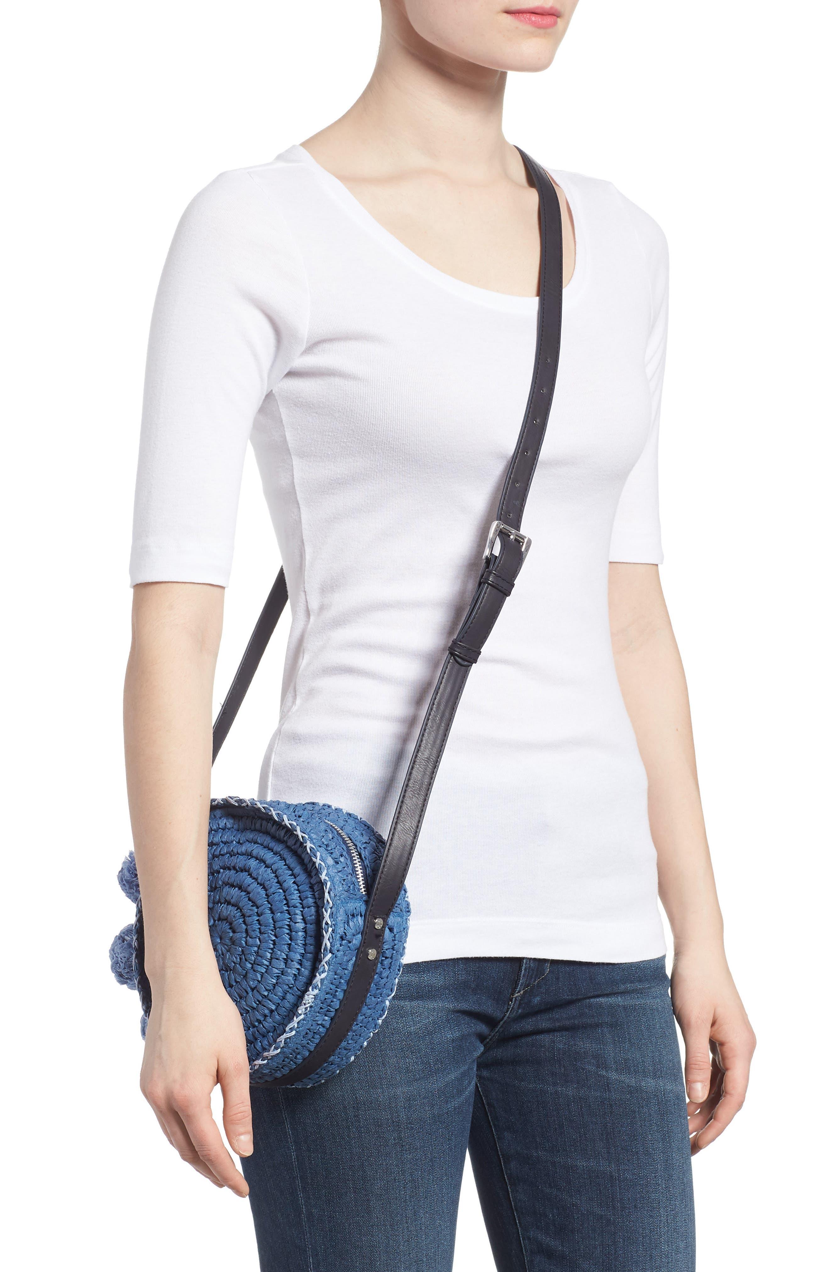 Pirro Woven Straw Crossbody Bag,                             Alternate thumbnail 2, color,                             Navy