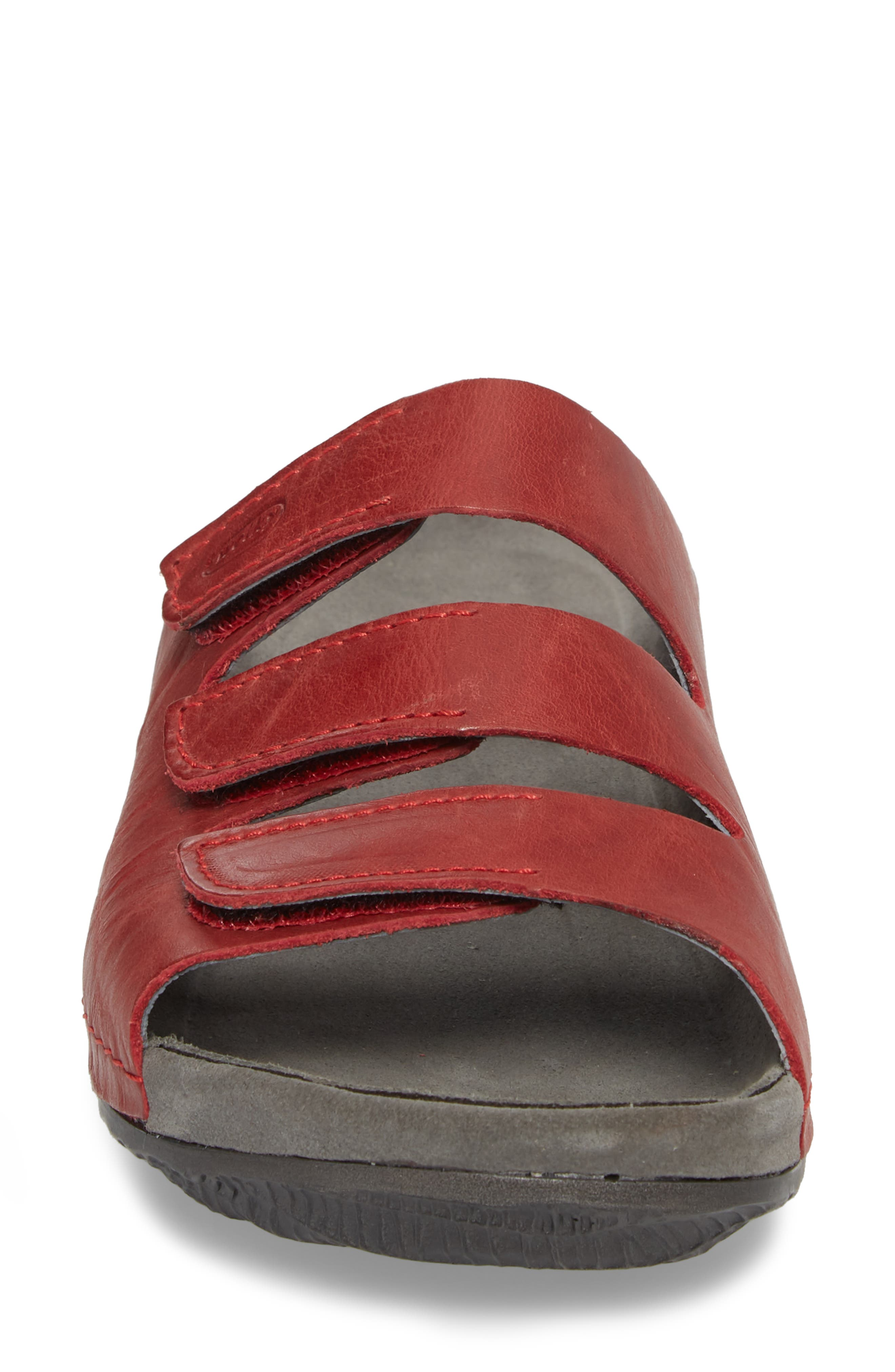 Nomad Slide Sandal,                             Alternate thumbnail 4, color,                             Red Leather