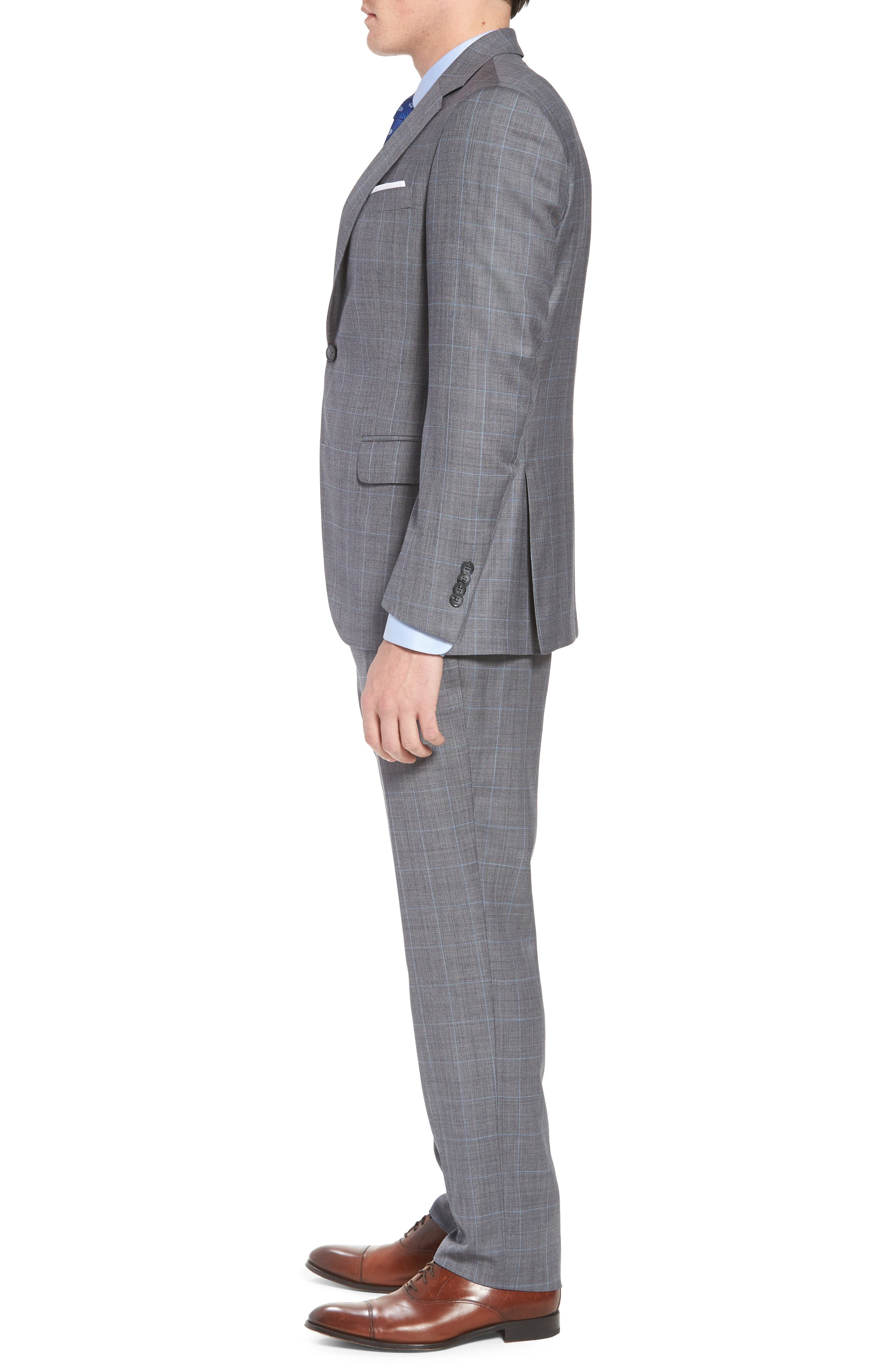 Classic Fit Windowpane Wool Suit,                             Alternate thumbnail 3, color,                             Grey