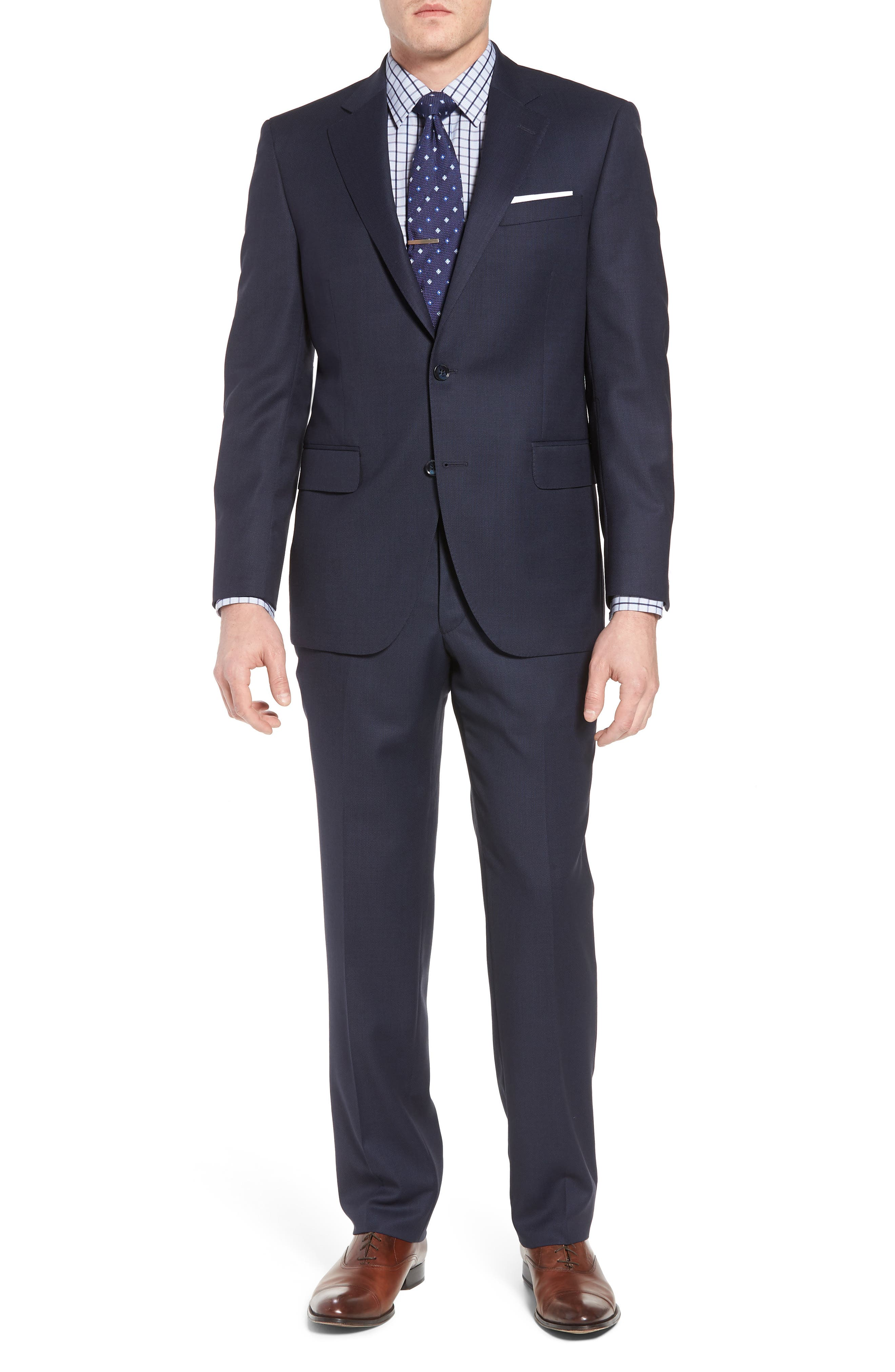Classic Fit Bird's Eye Wool Suit,                         Main,                         color, Navy