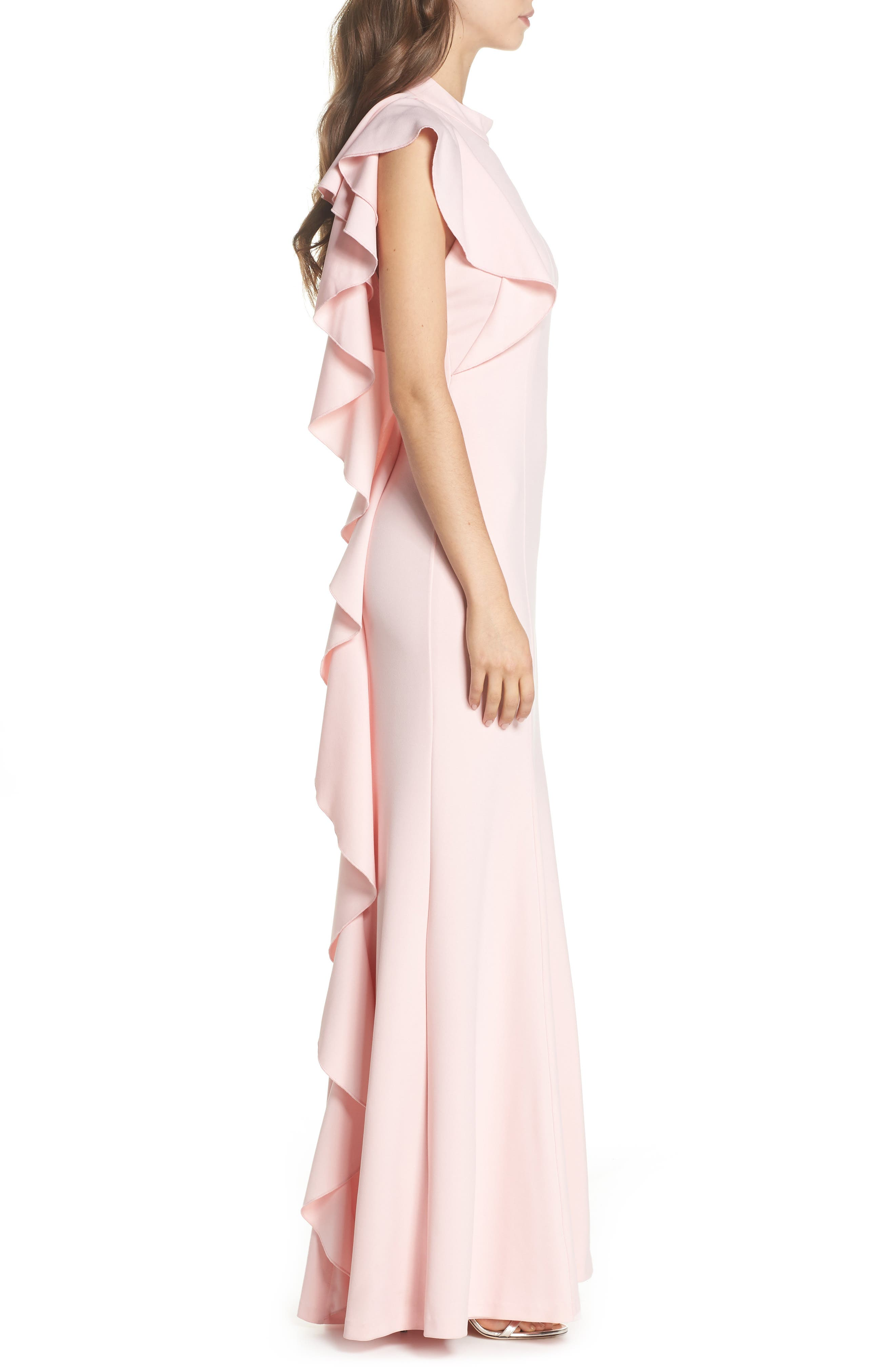 Ruffle Back Halter Gown,                             Alternate thumbnail 3, color,                             Pale Shell