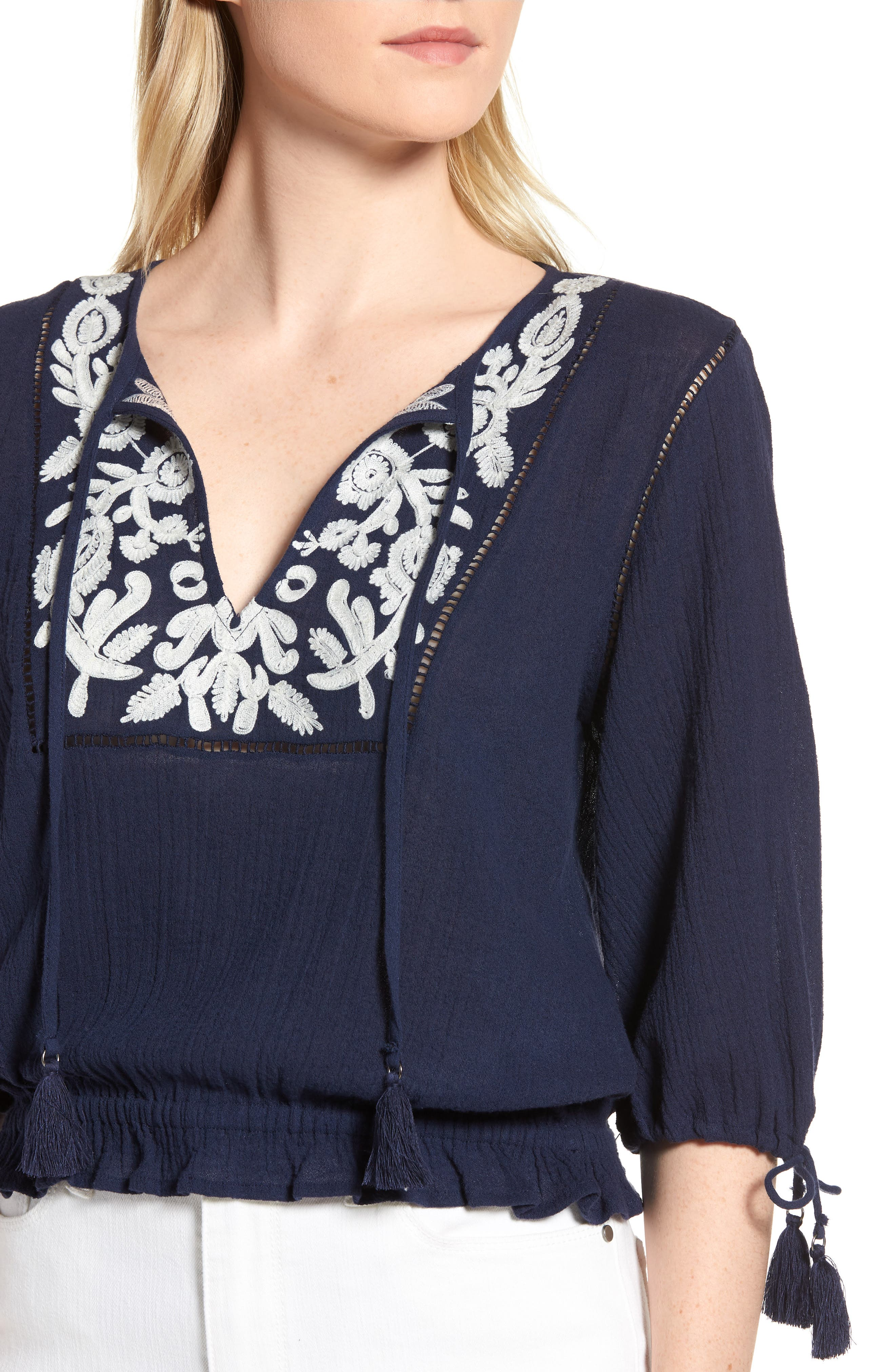 Embroidered Cotton Tassel Top,                             Alternate thumbnail 4, color,                             American Navy