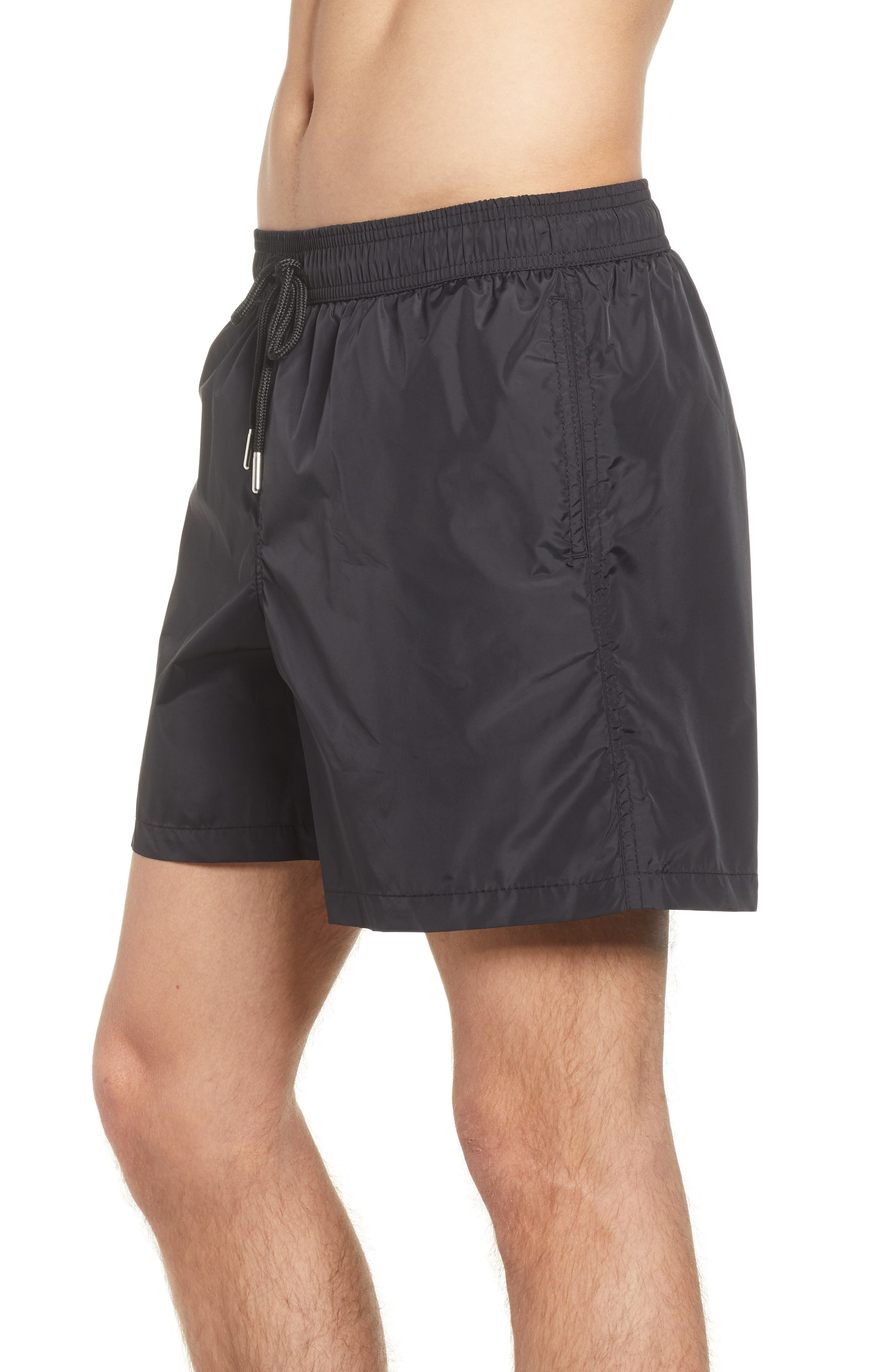 Swim Trunks,                             Alternate thumbnail 4, color,                             Black /Turquoise