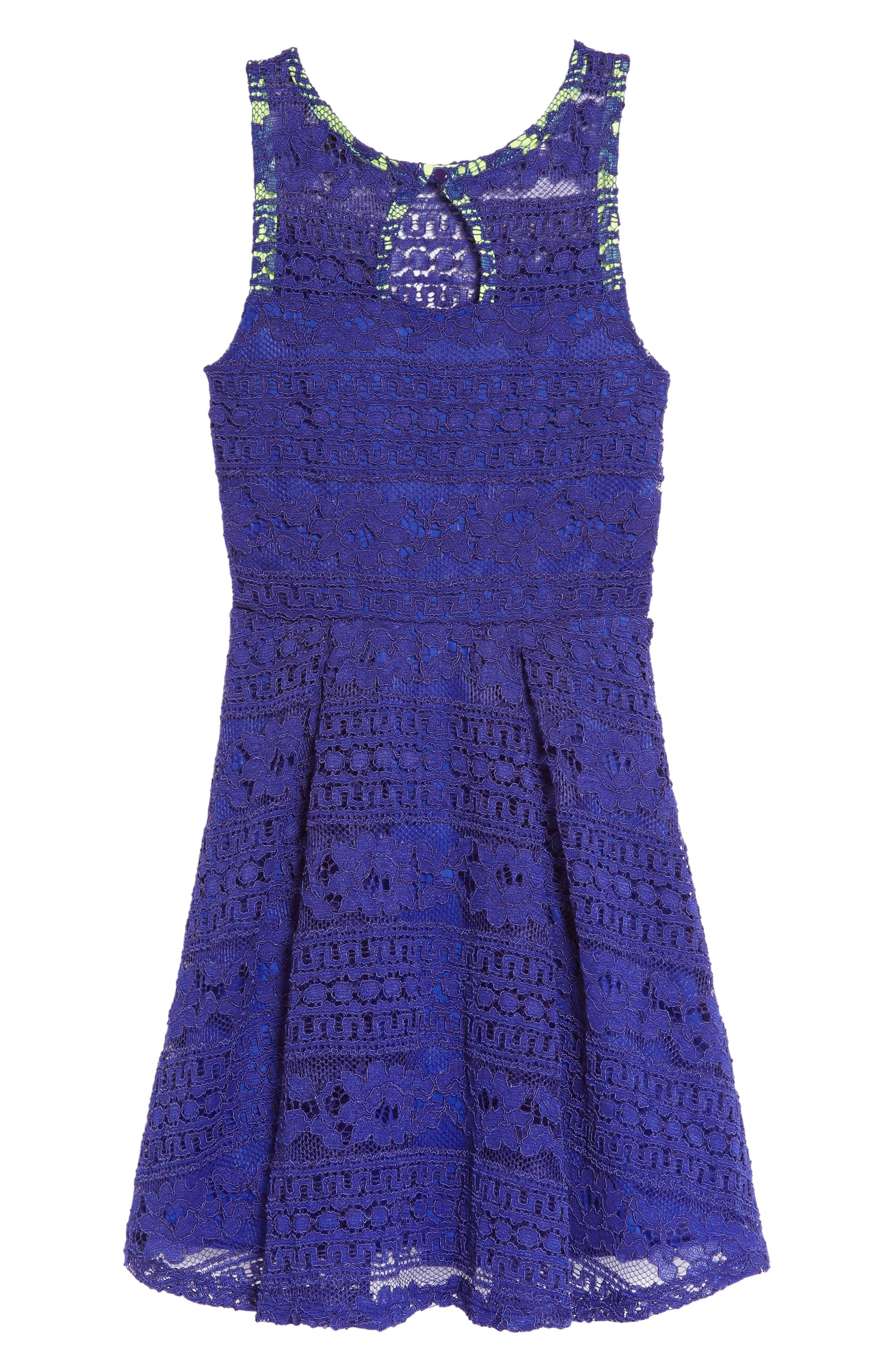 Lace Skater Dress,                             Alternate thumbnail 2, color,                             Royal