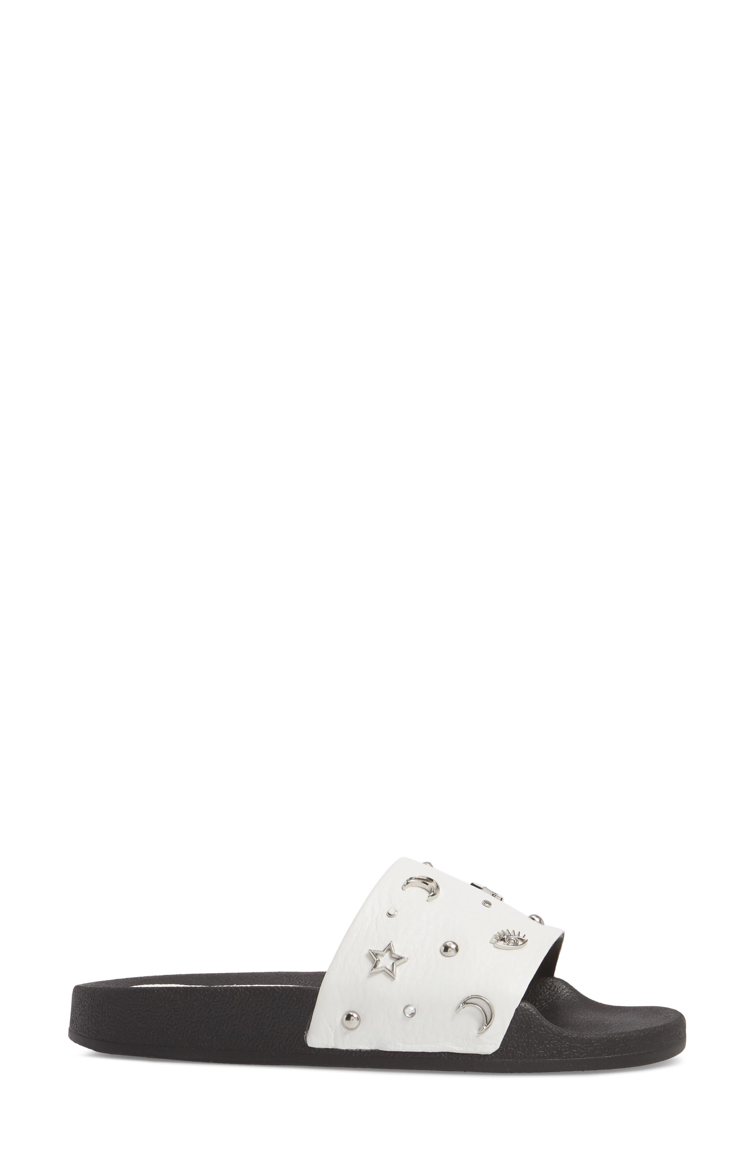 Thunder Slide Sandal,                             Alternate thumbnail 3, color,                             White Leather