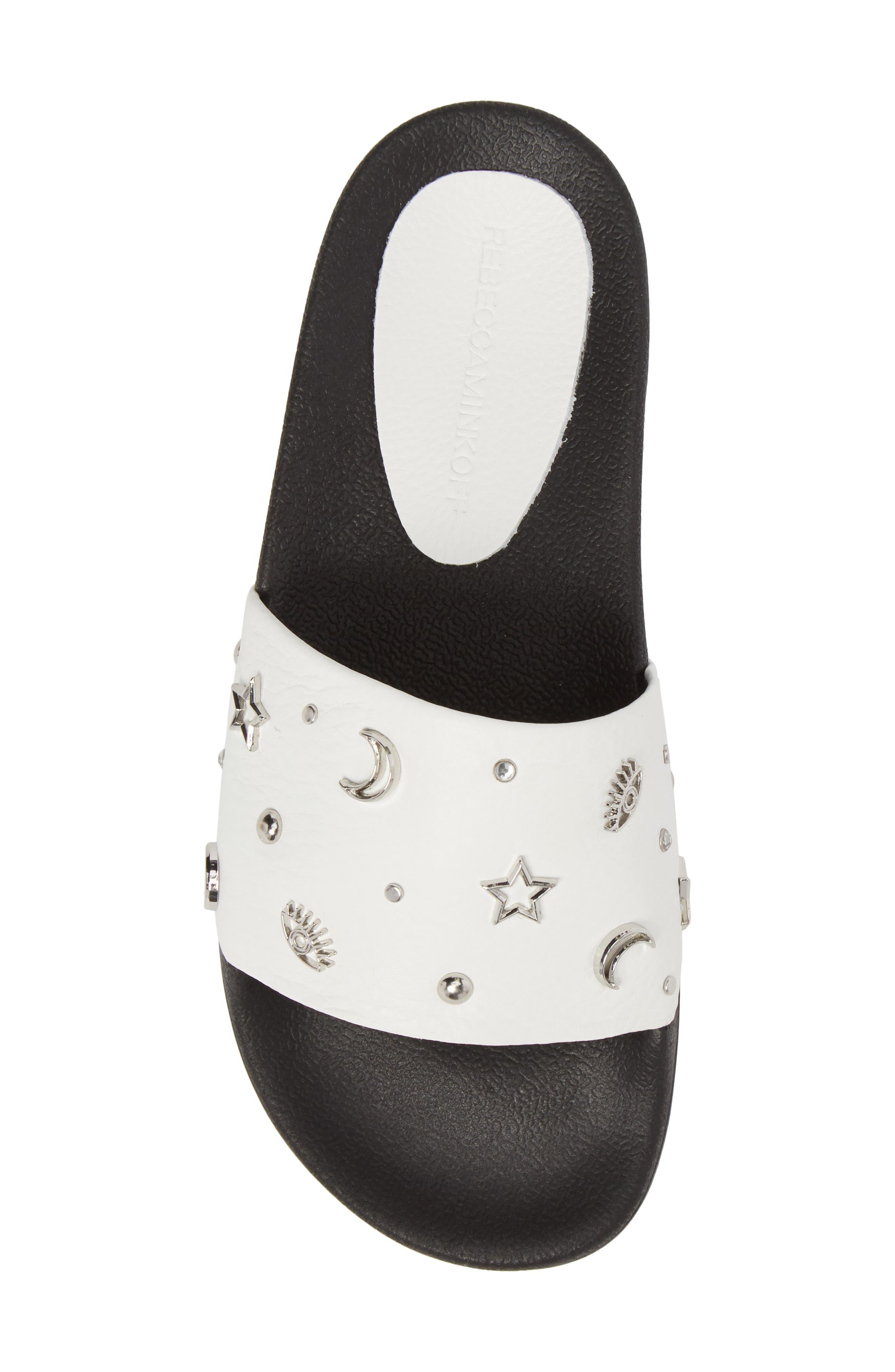 Thunder Slide Sandal,                             Alternate thumbnail 5, color,                             White Leather