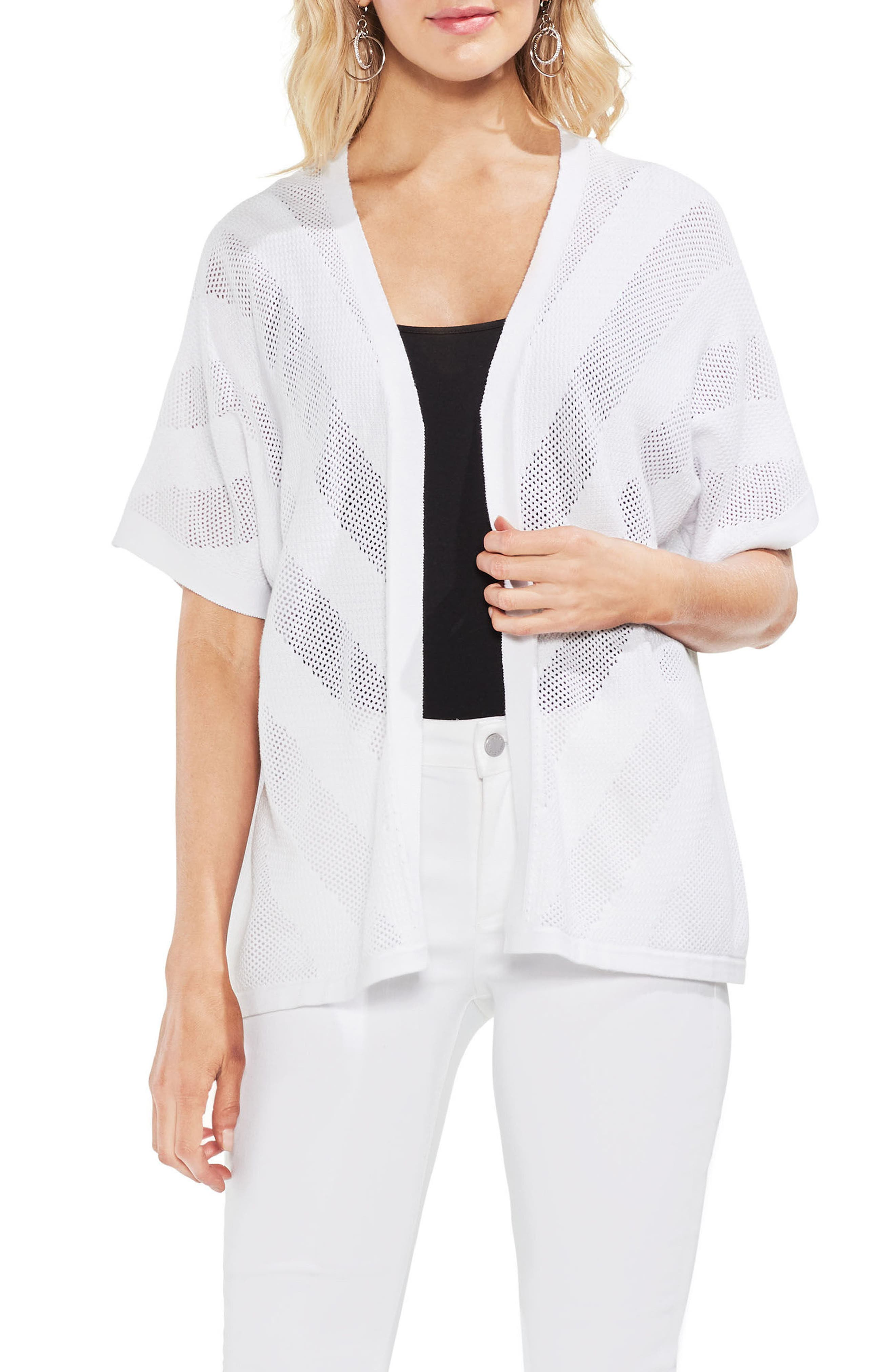 Combed Cotton Mesh Inset Sweater,                             Main thumbnail 1, color,                             Ultra White