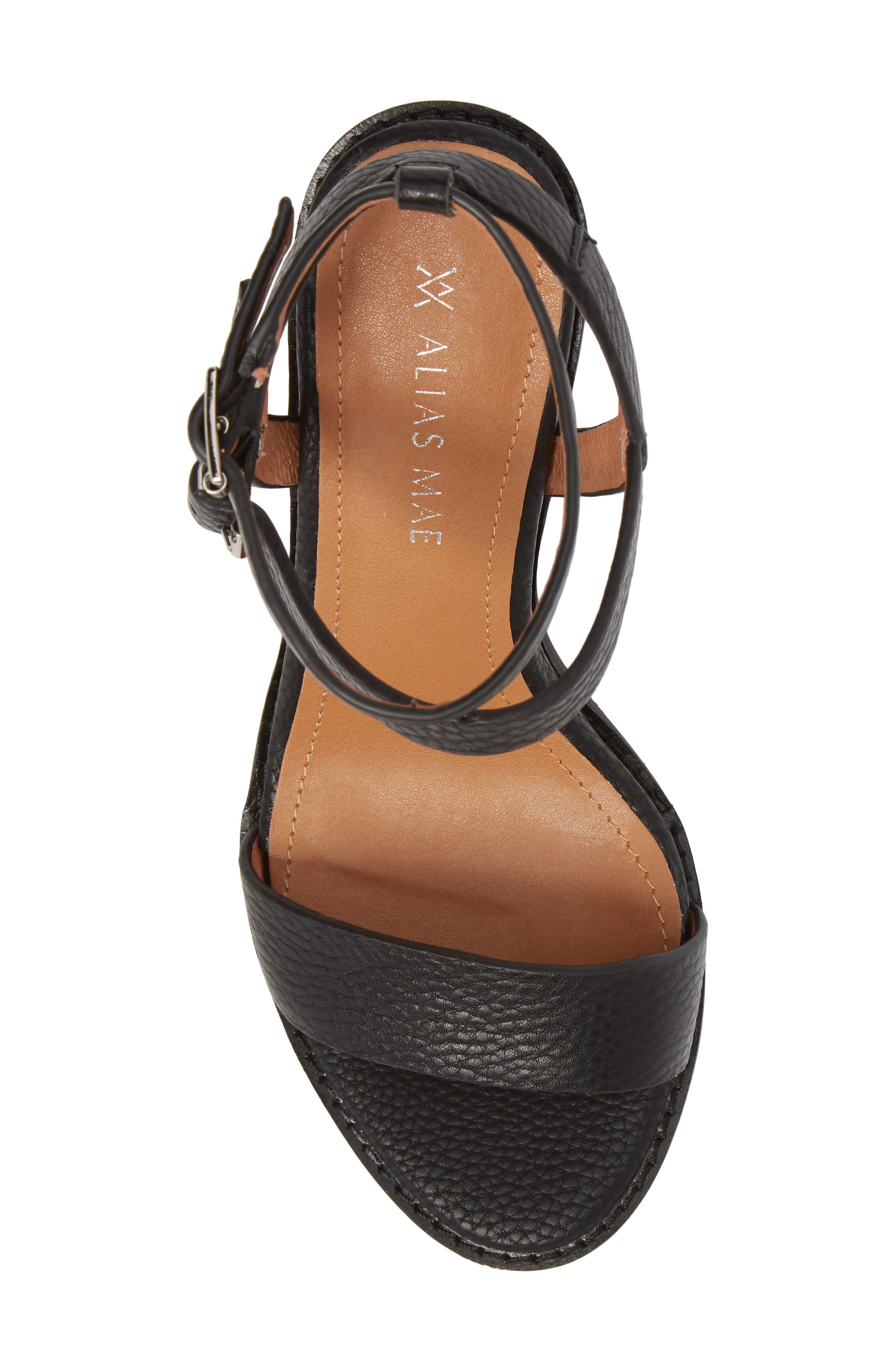Elapse Sandal,                             Alternate thumbnail 5, color,                             Black Leather