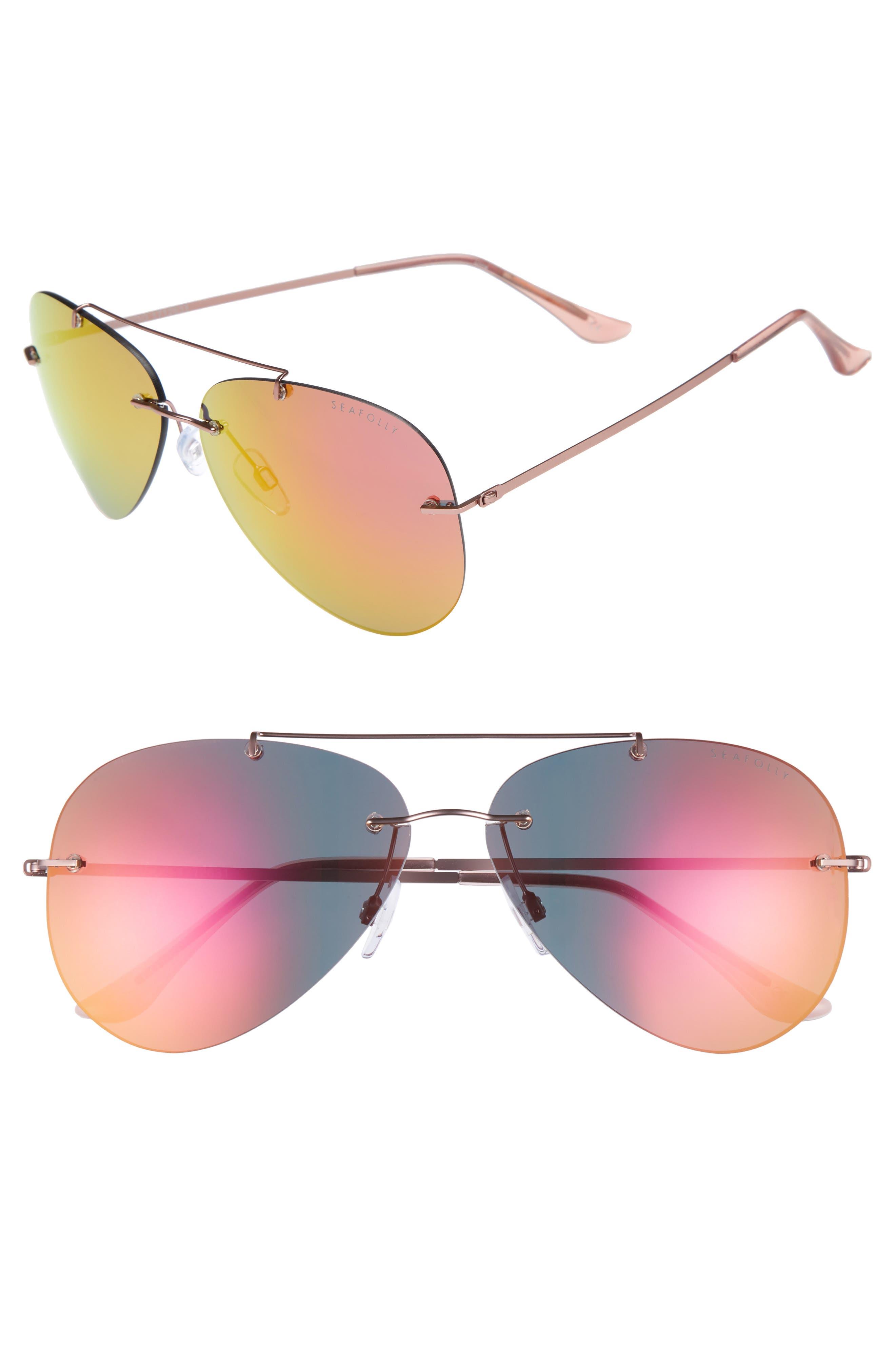 Redondo 61mm Rimless Aviator Sunglasses,                         Main,                         color, Nectarine