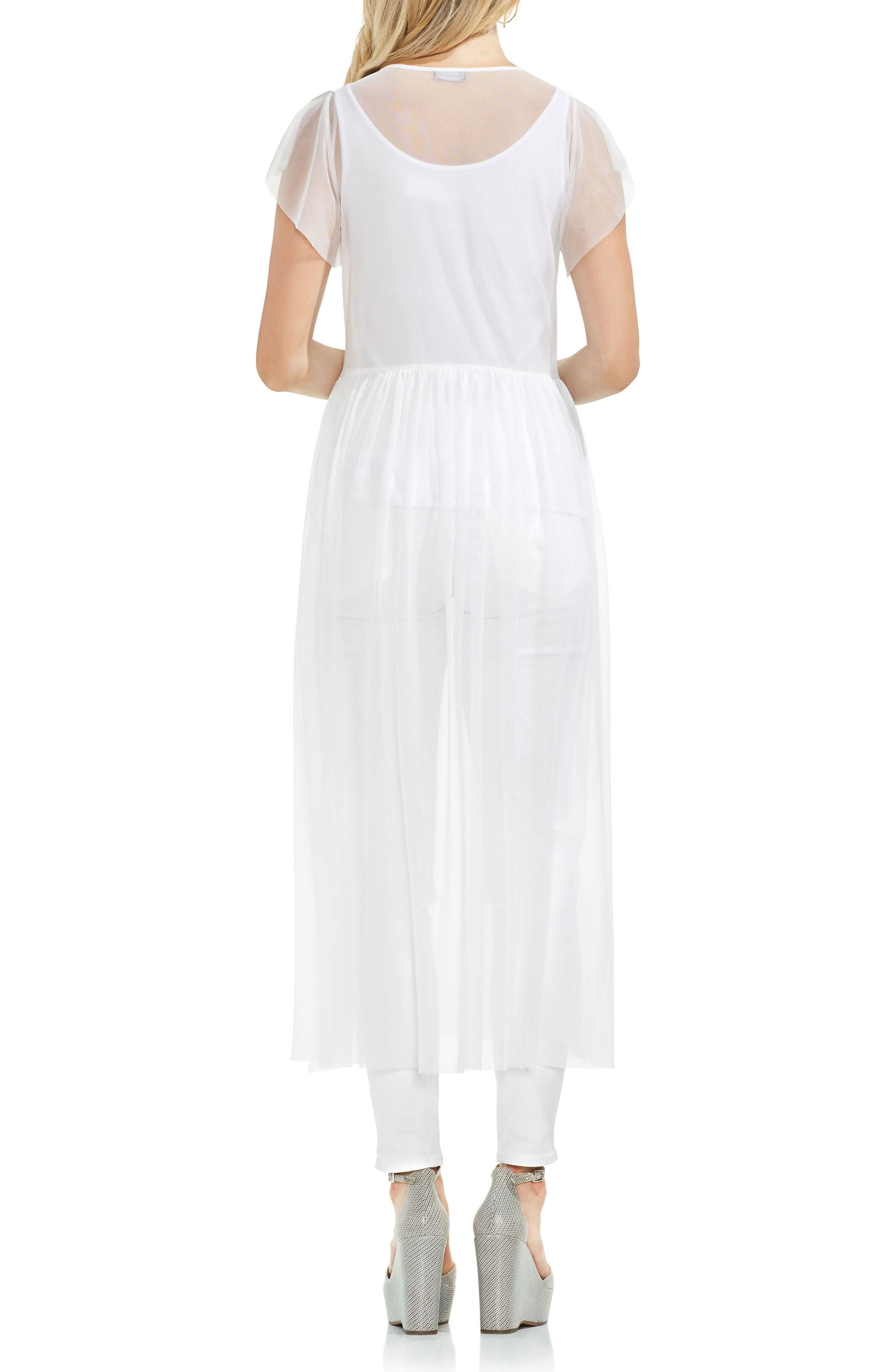 Embrodidered Mesh Layering Dress,                             Alternate thumbnail 2, color,                             Ultra White