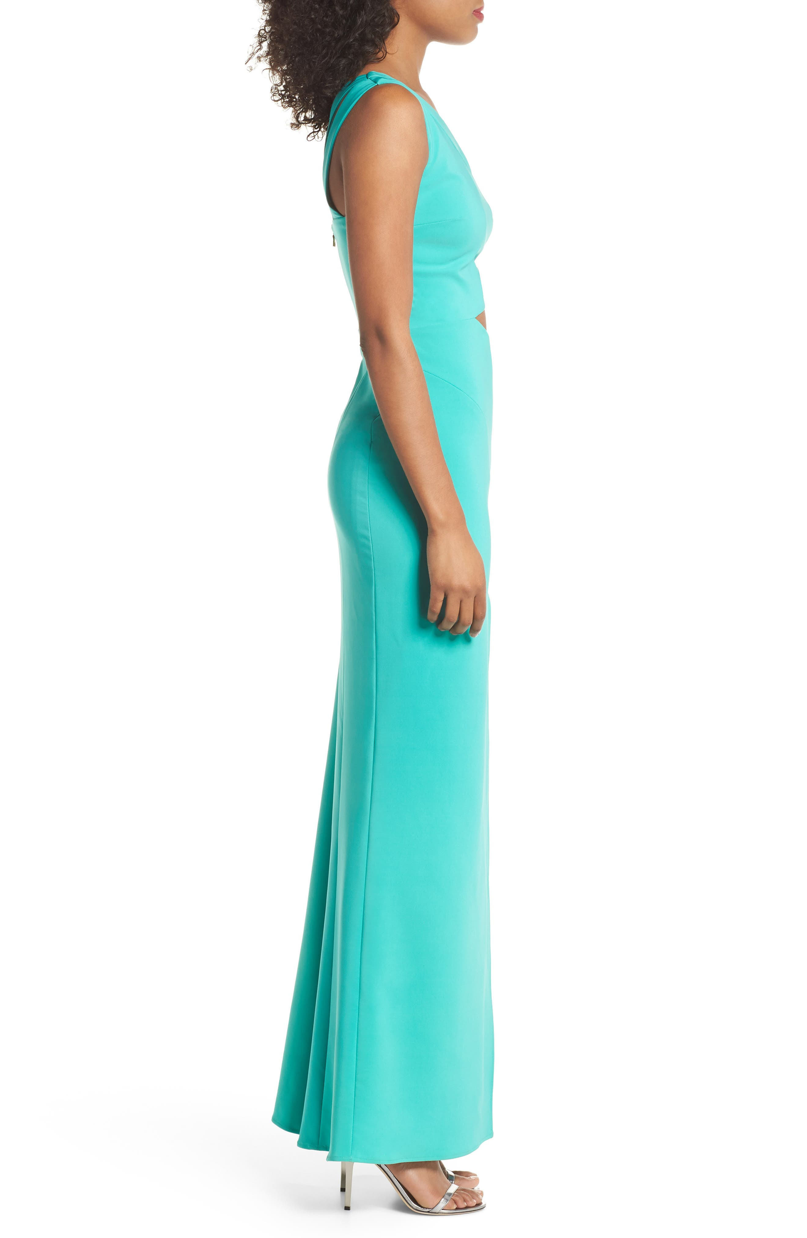 Cameron One-Shoulder Cutout Gown,                             Alternate thumbnail 3, color,                             Jade