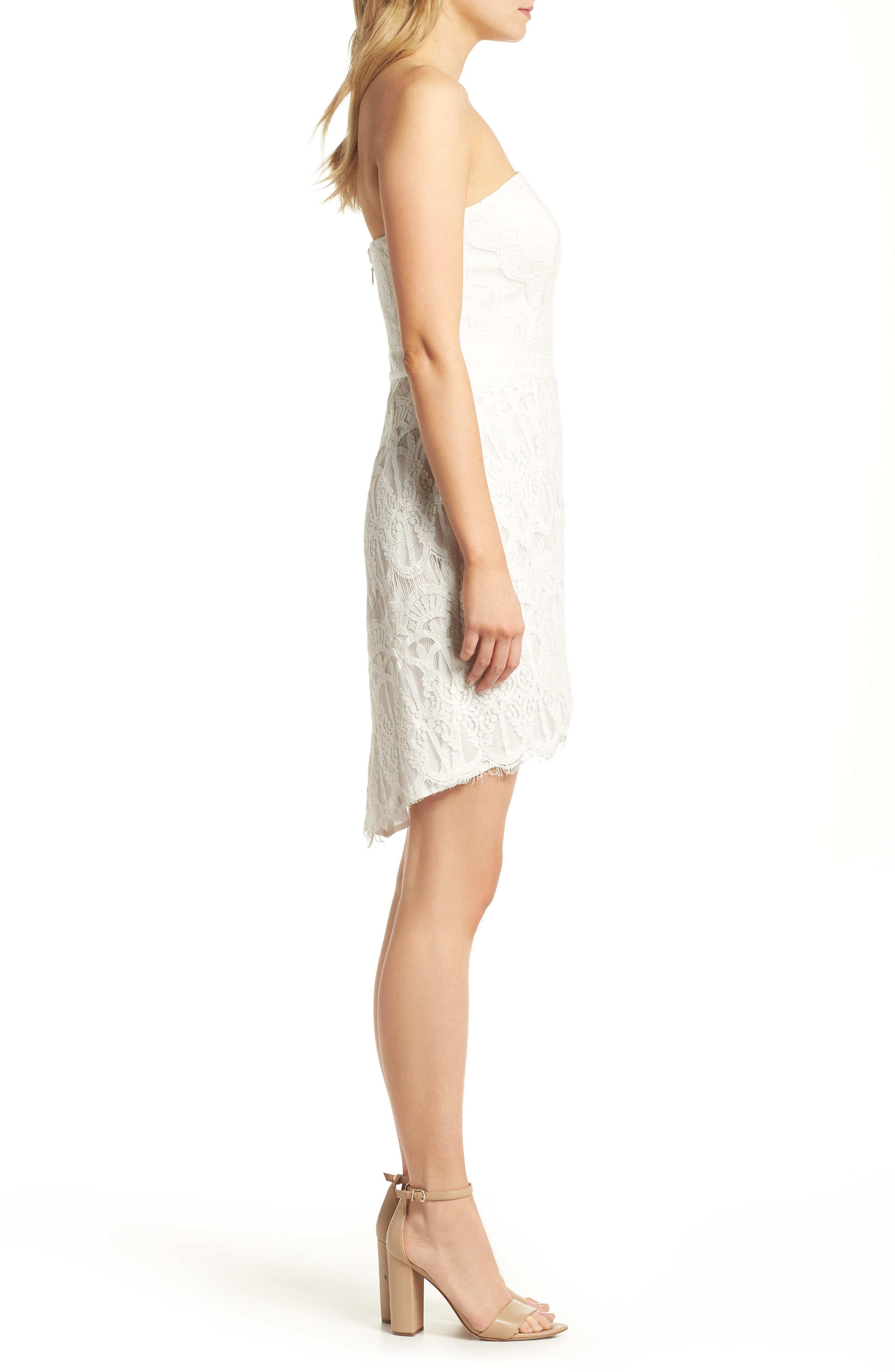 Strapless Lace Dress,                             Alternate thumbnail 3, color,                             White