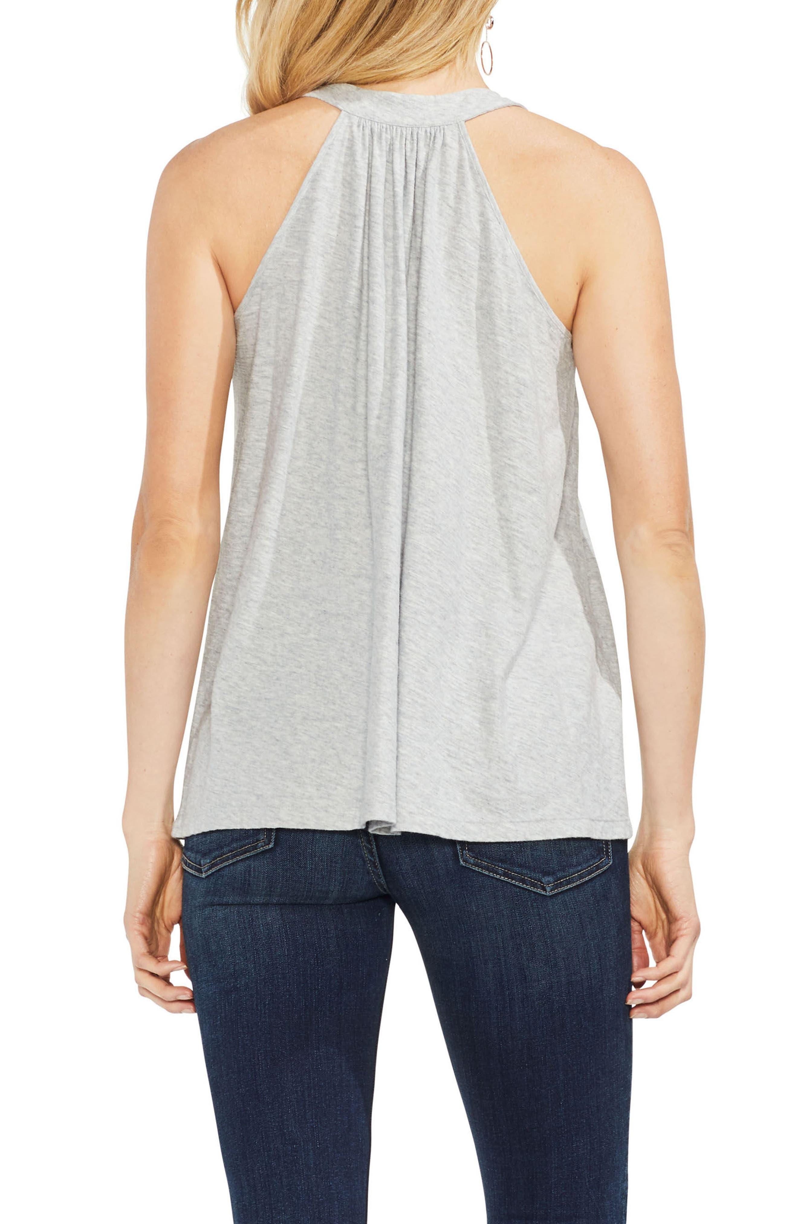 Tassel Neck Halter Cotton Top,                             Alternate thumbnail 2, color,                             Grey Heather