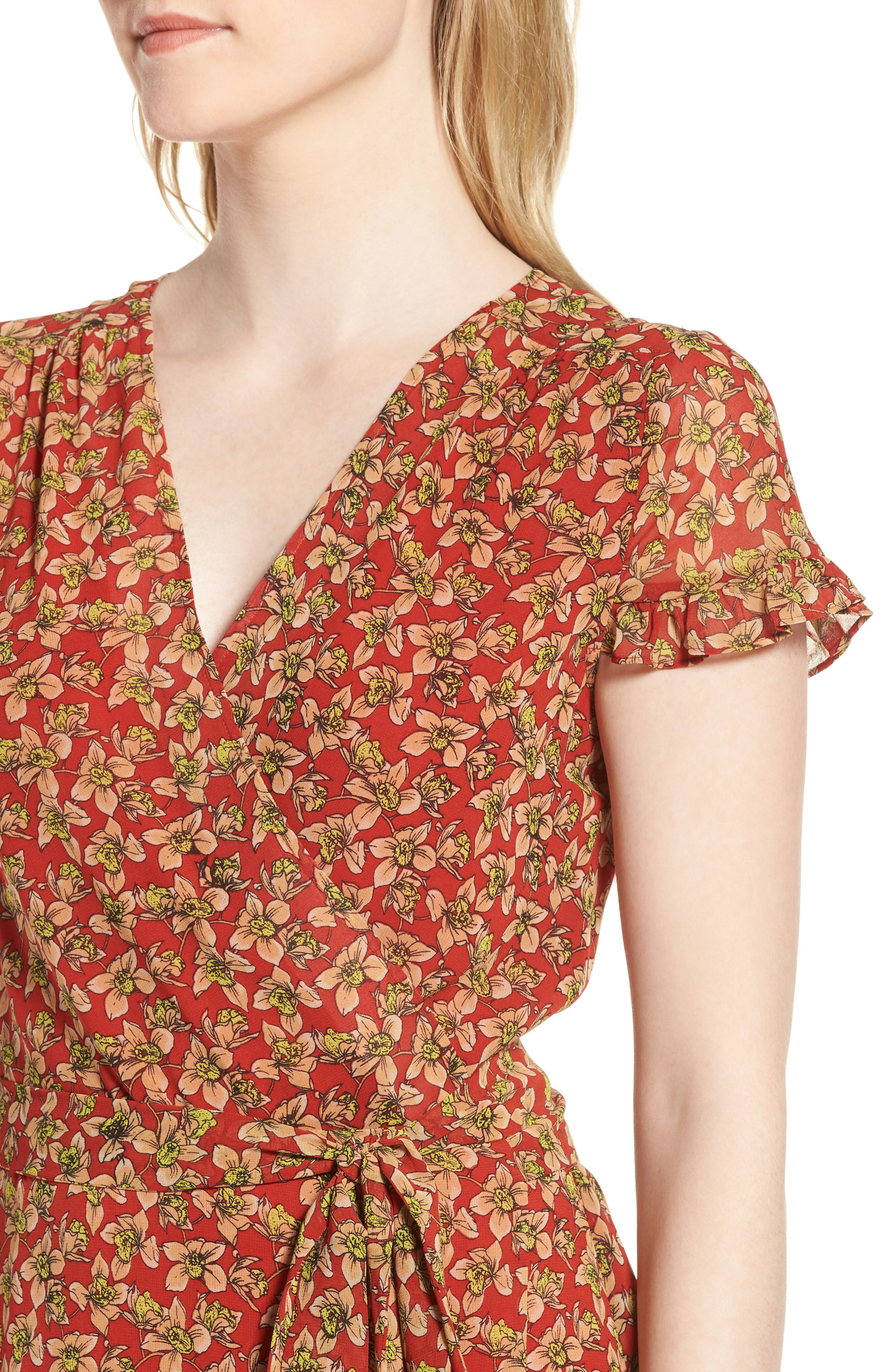 Ana Floral Wrap Dress,                             Alternate thumbnail 4, color,                             Red Multi