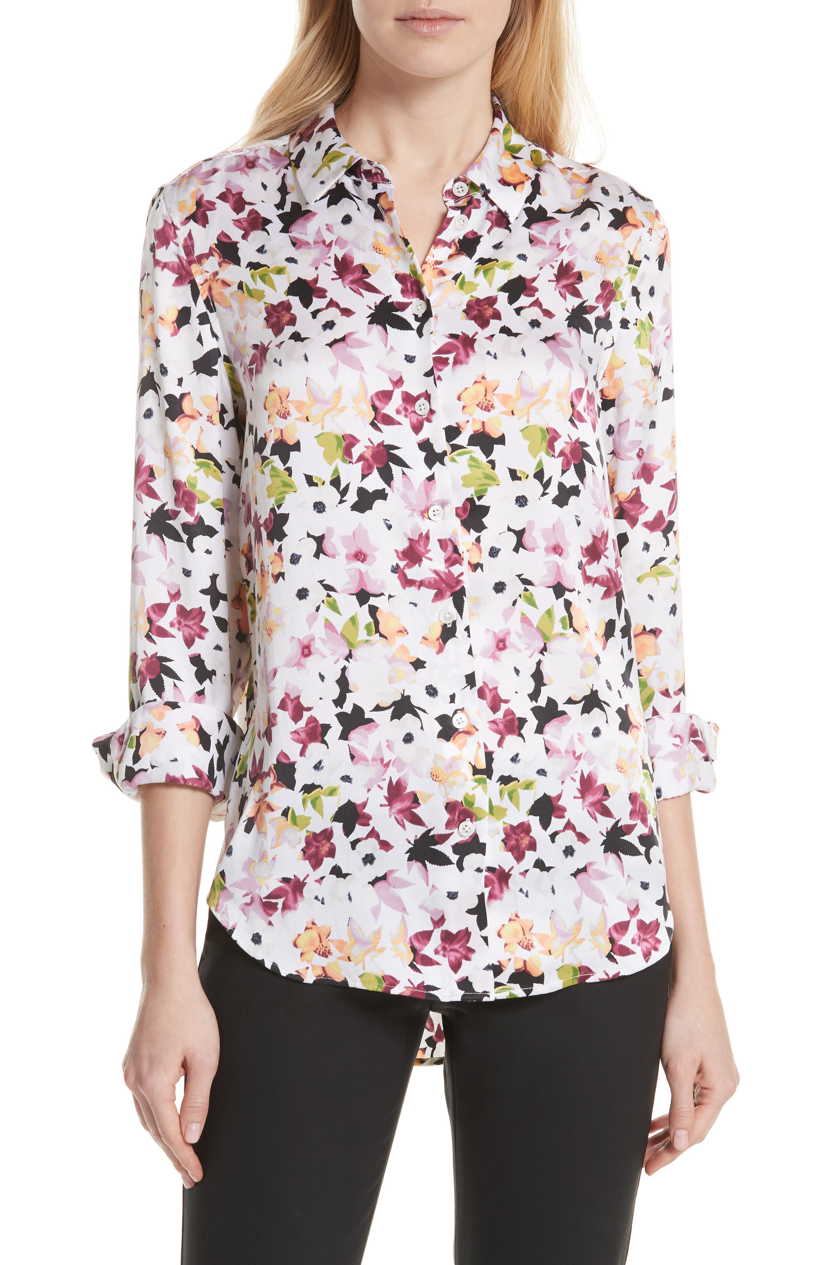 Essential Floral Silk Shirt,                         Main,                         color, Bright White Multi