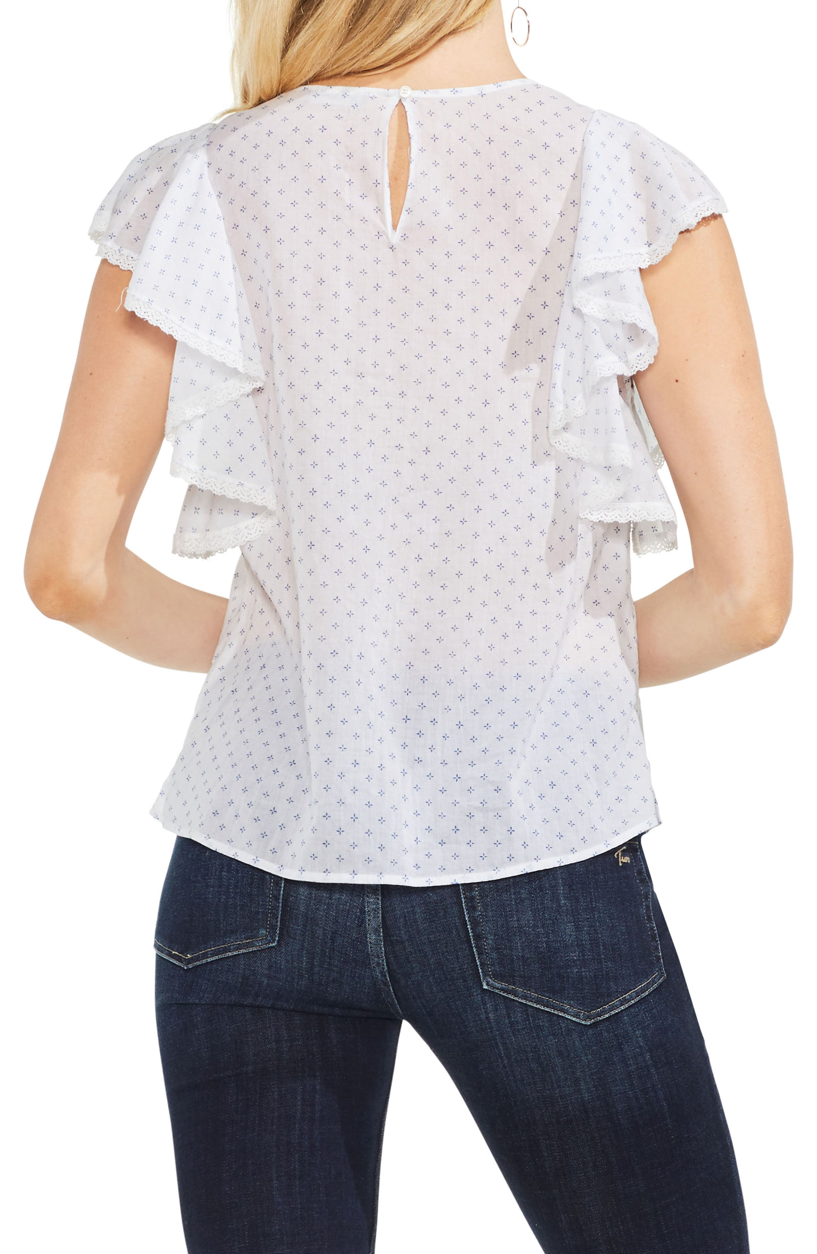 Ruffled Floral Embroidered Top,                             Alternate thumbnail 2, color,                             Ultra White