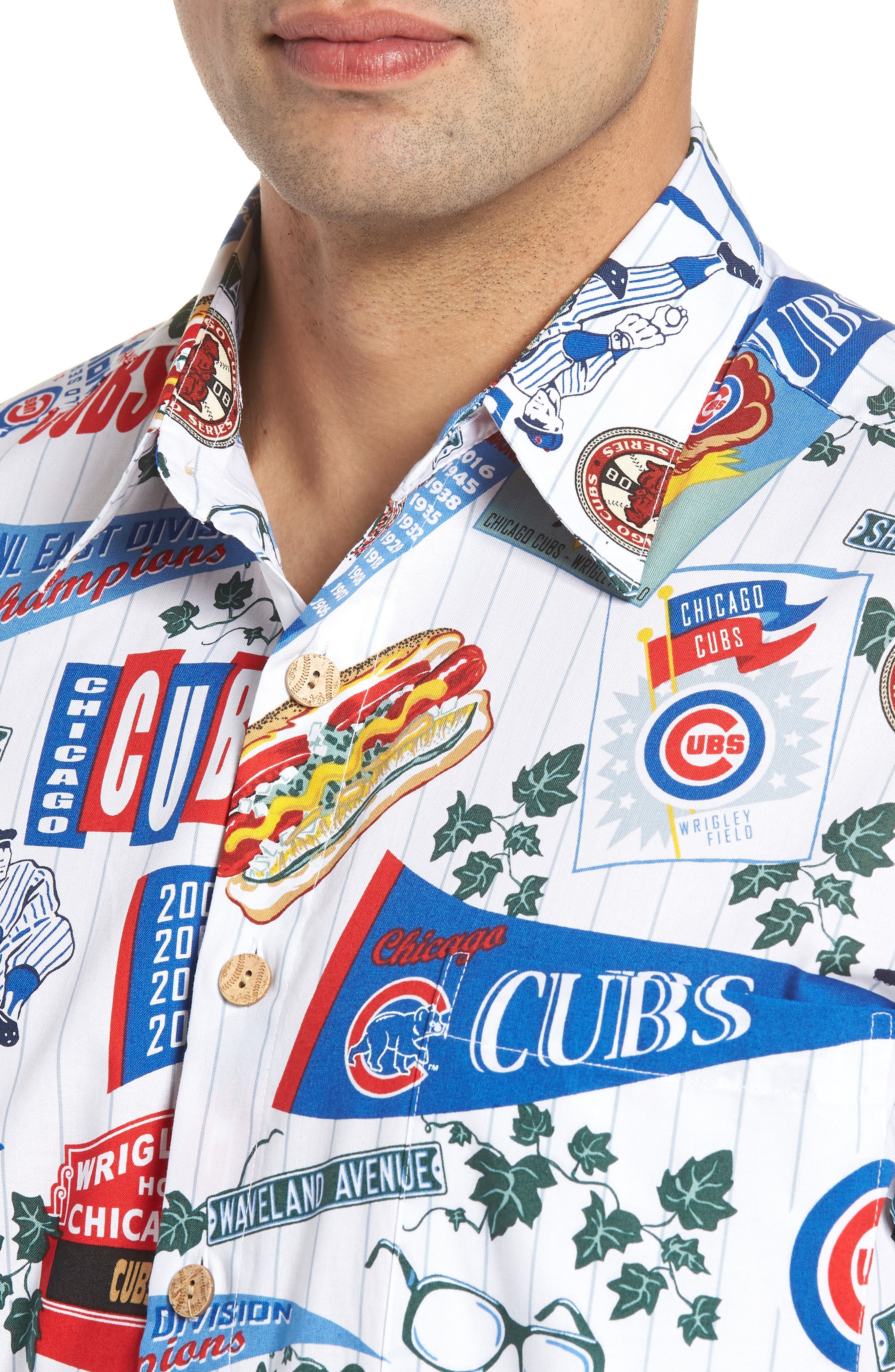 Chicago Cubs Classic Fit Camp Shirt,                             Alternate thumbnail 4, color,                             Scenic