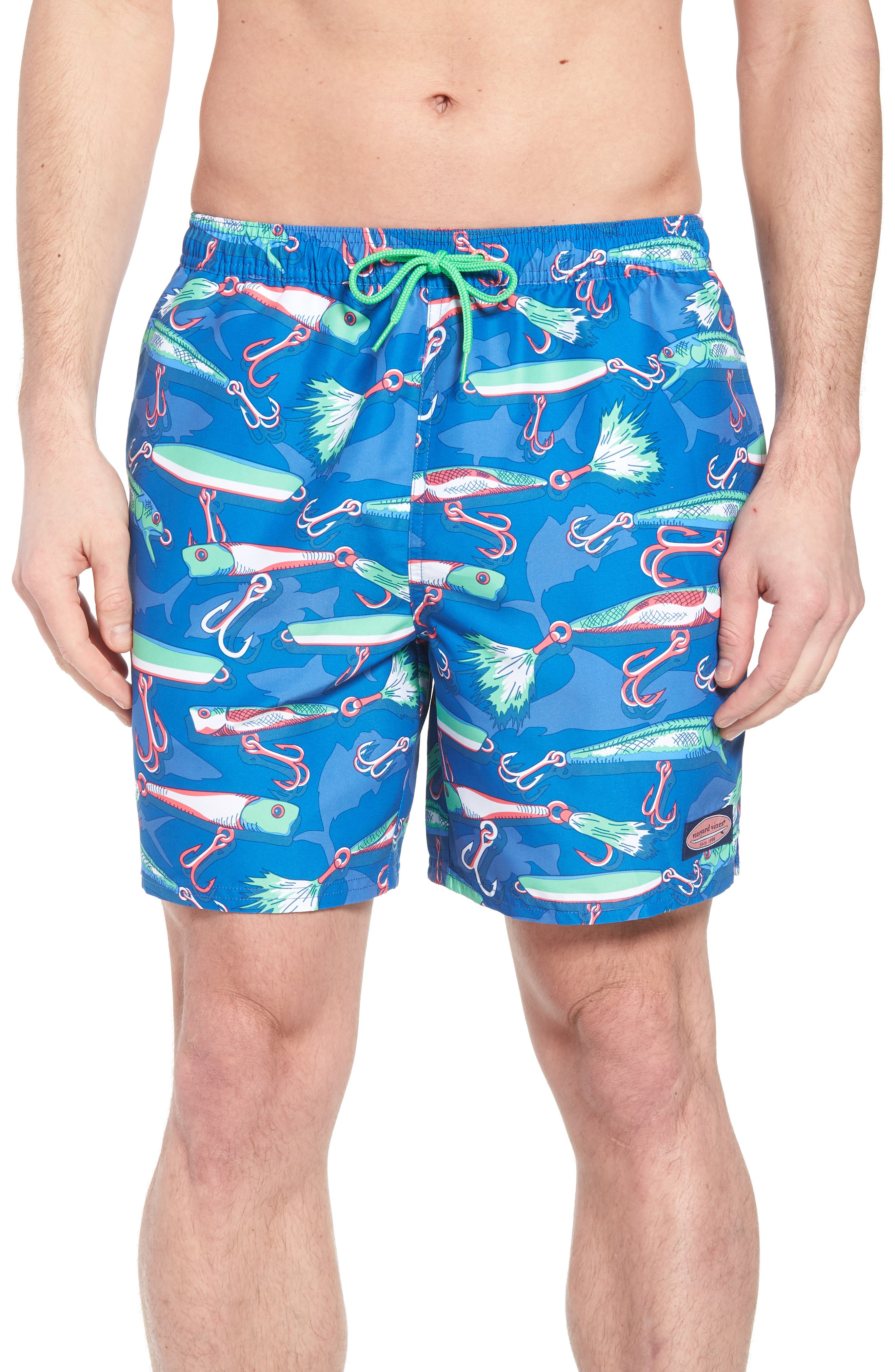 Chappy Lures Swim Trunks,                         Main,                         color, Hull Blue