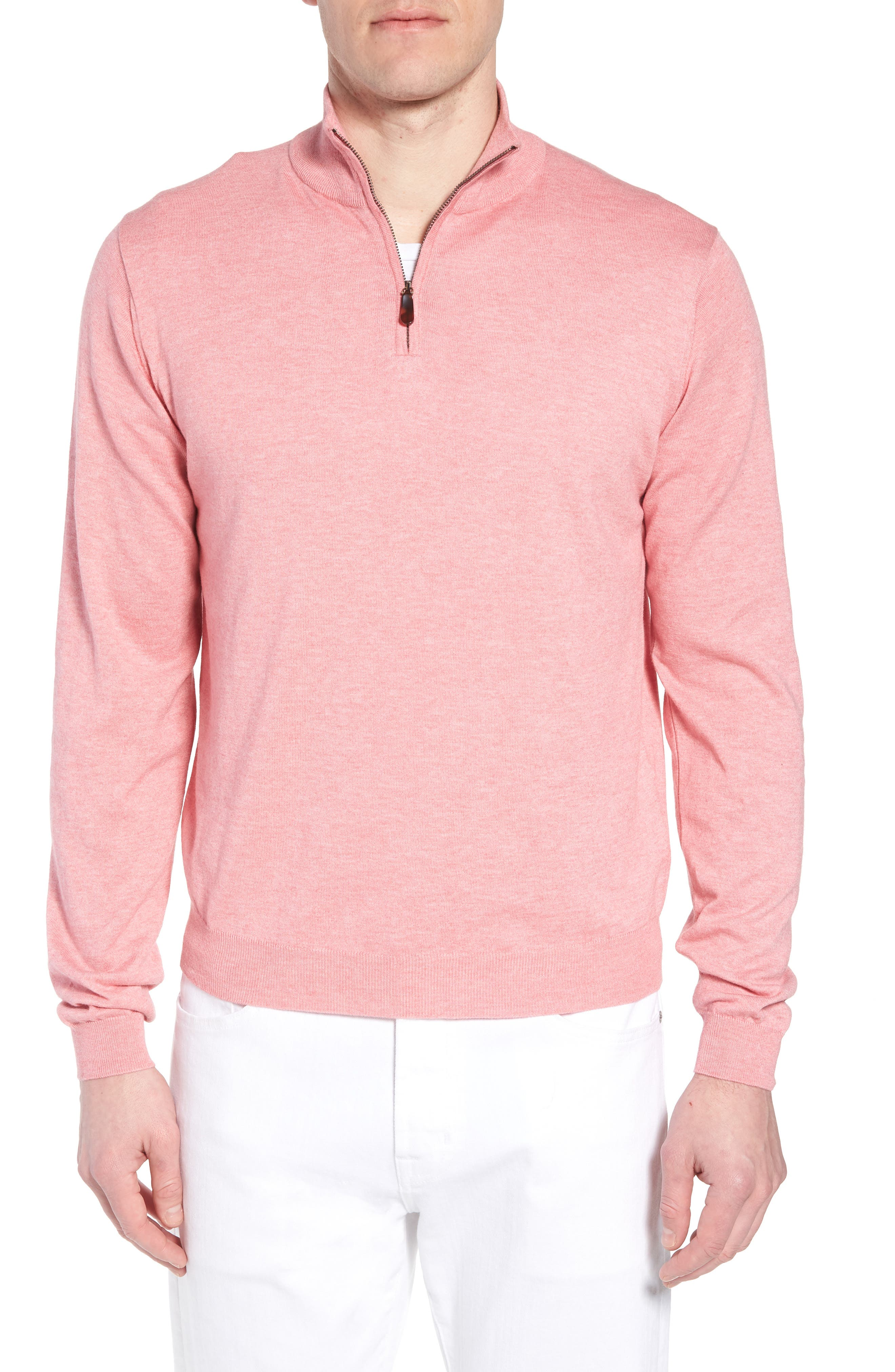 Cotton & Silk Quarter Zip Pullover,                         Main,                         color, Pink