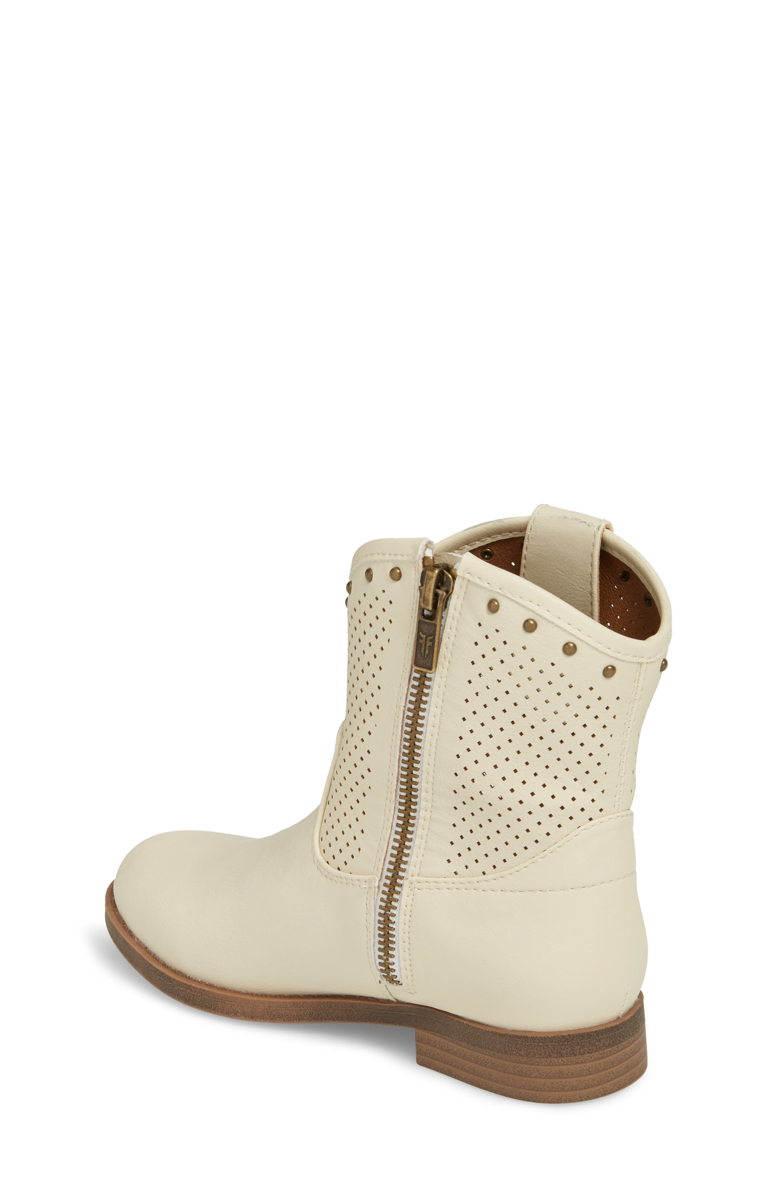 Melissa Perforated Button Boot,                             Alternate thumbnail 2, color,                             White