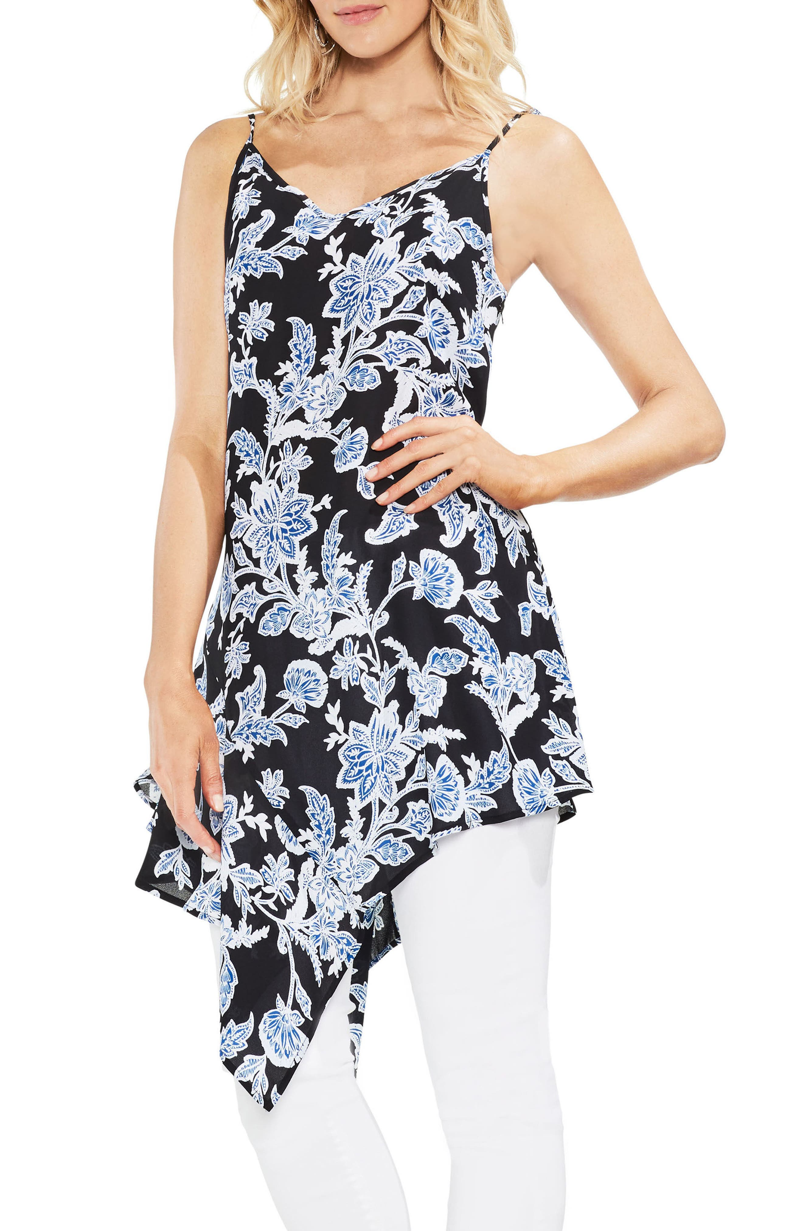 Main Image - Vince Camuto Woodblock Floral Asymmetrical Tunic Top