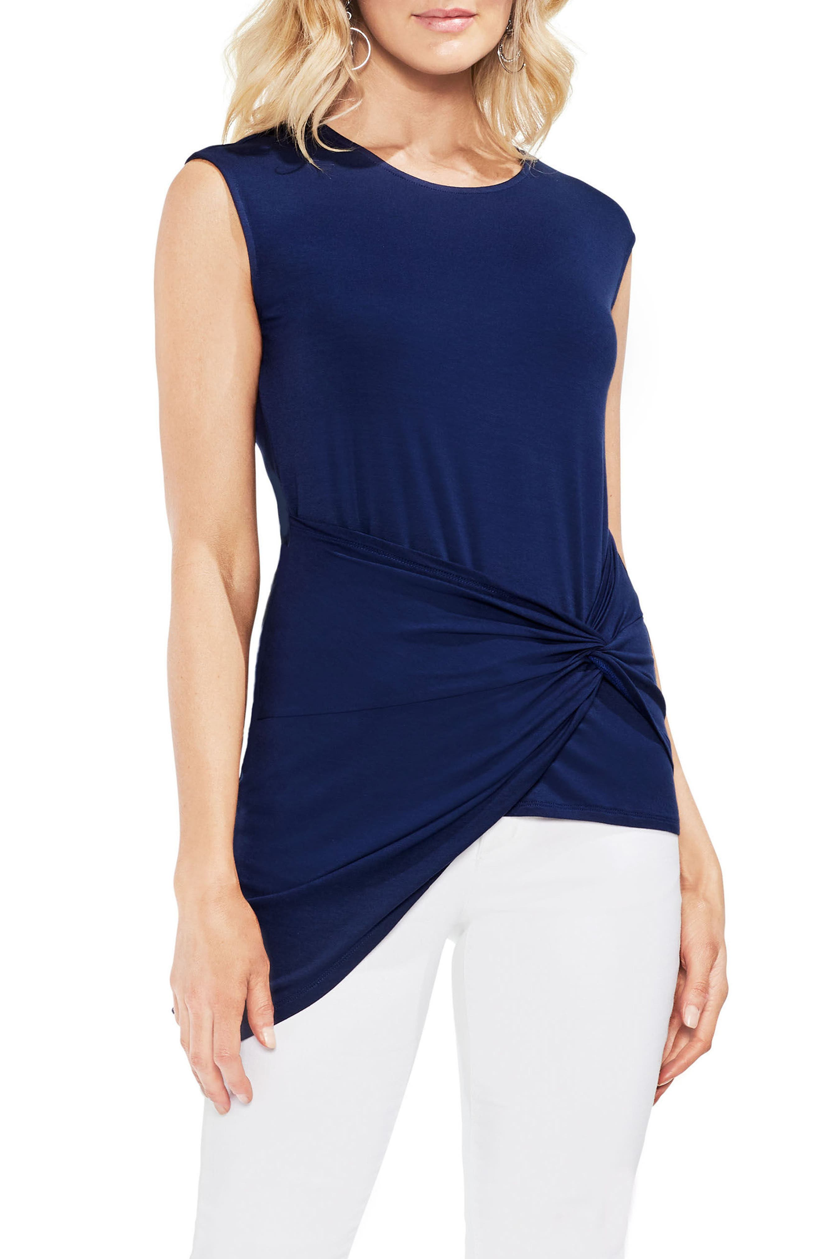 Twist Front Stretch Jersey Top,                             Main thumbnail 1, color,                             High Tide